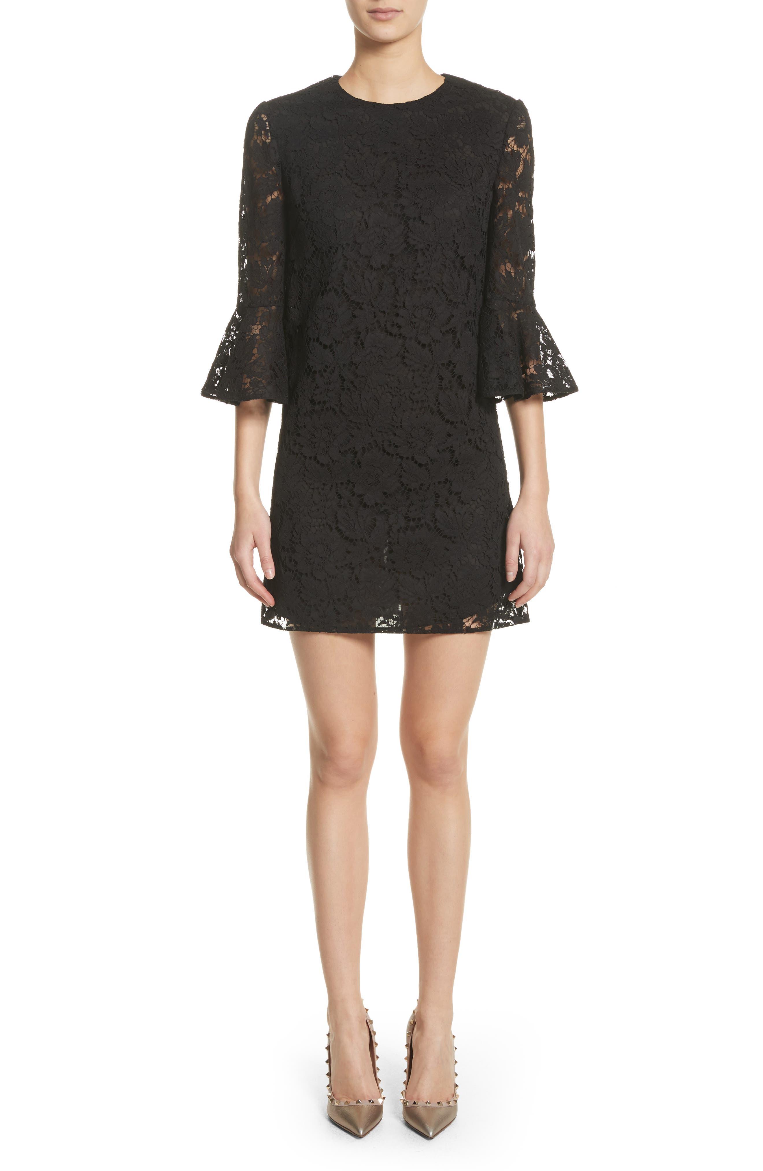 Lace Bell Sleeve Dress,                             Main thumbnail 1, color,                             BLACK