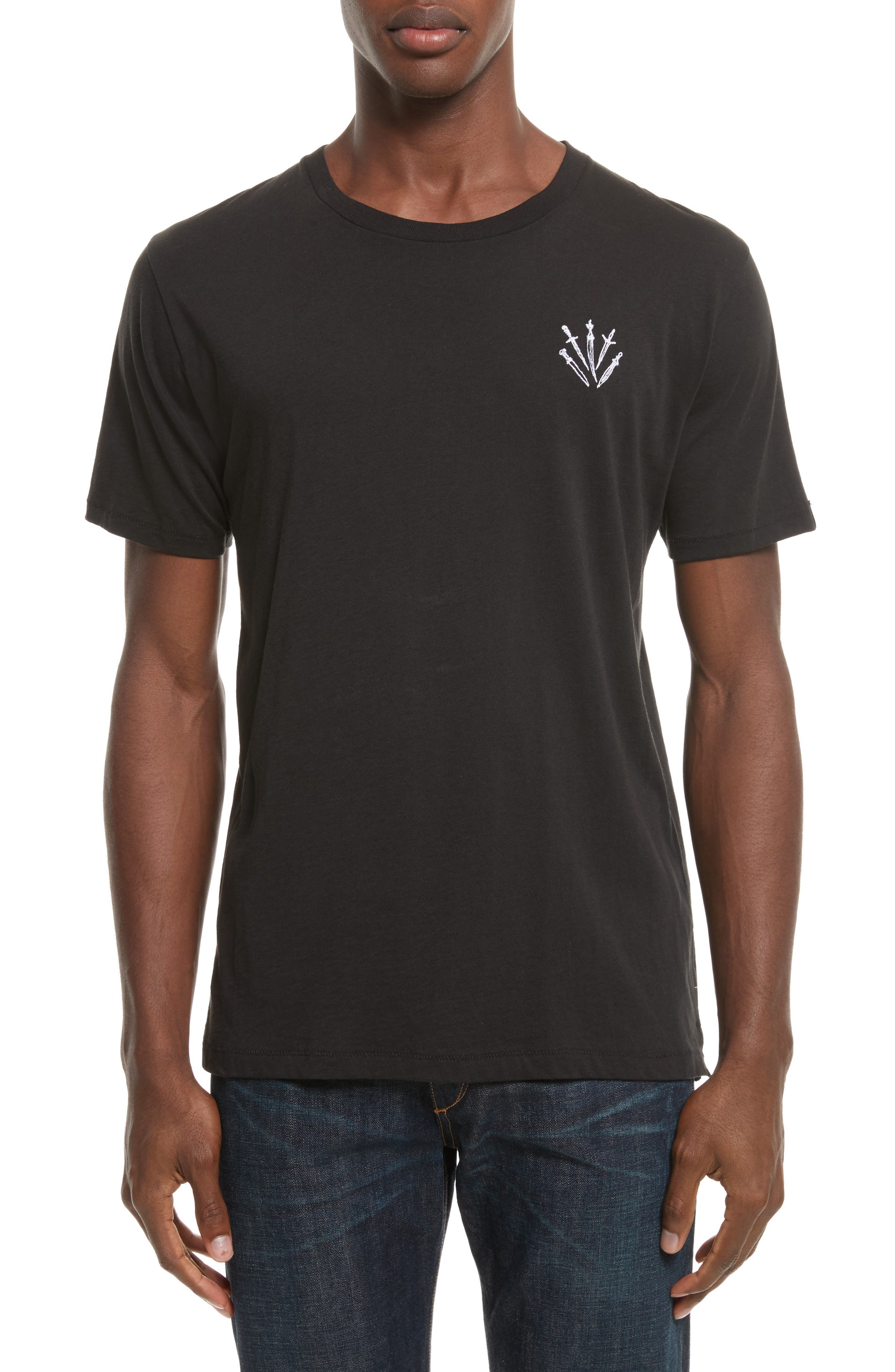 Dagger Embroidered T-Shirt,                         Main,                         color, BLACK