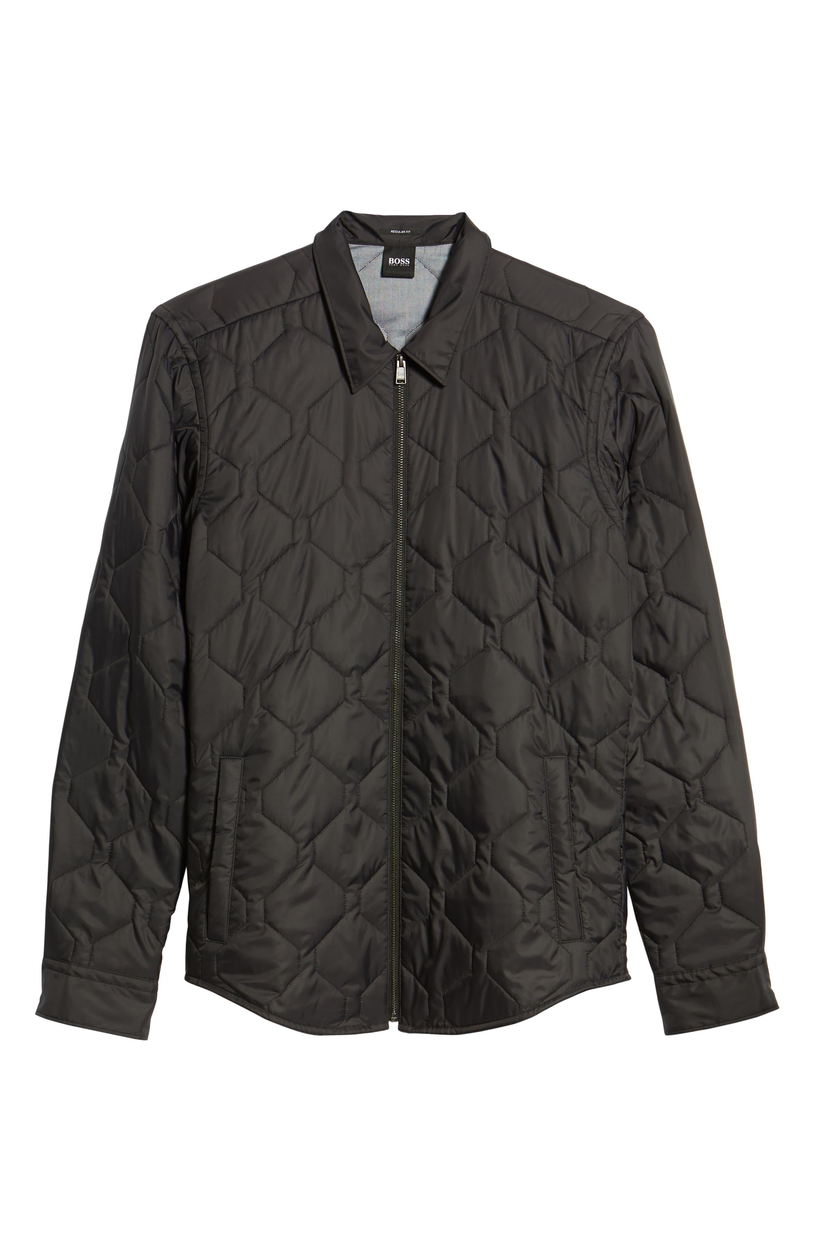 BOSS,                             Landolfo Regular Fit Quilted Jacket,                             Alternate thumbnail 6, color,                             BLACK