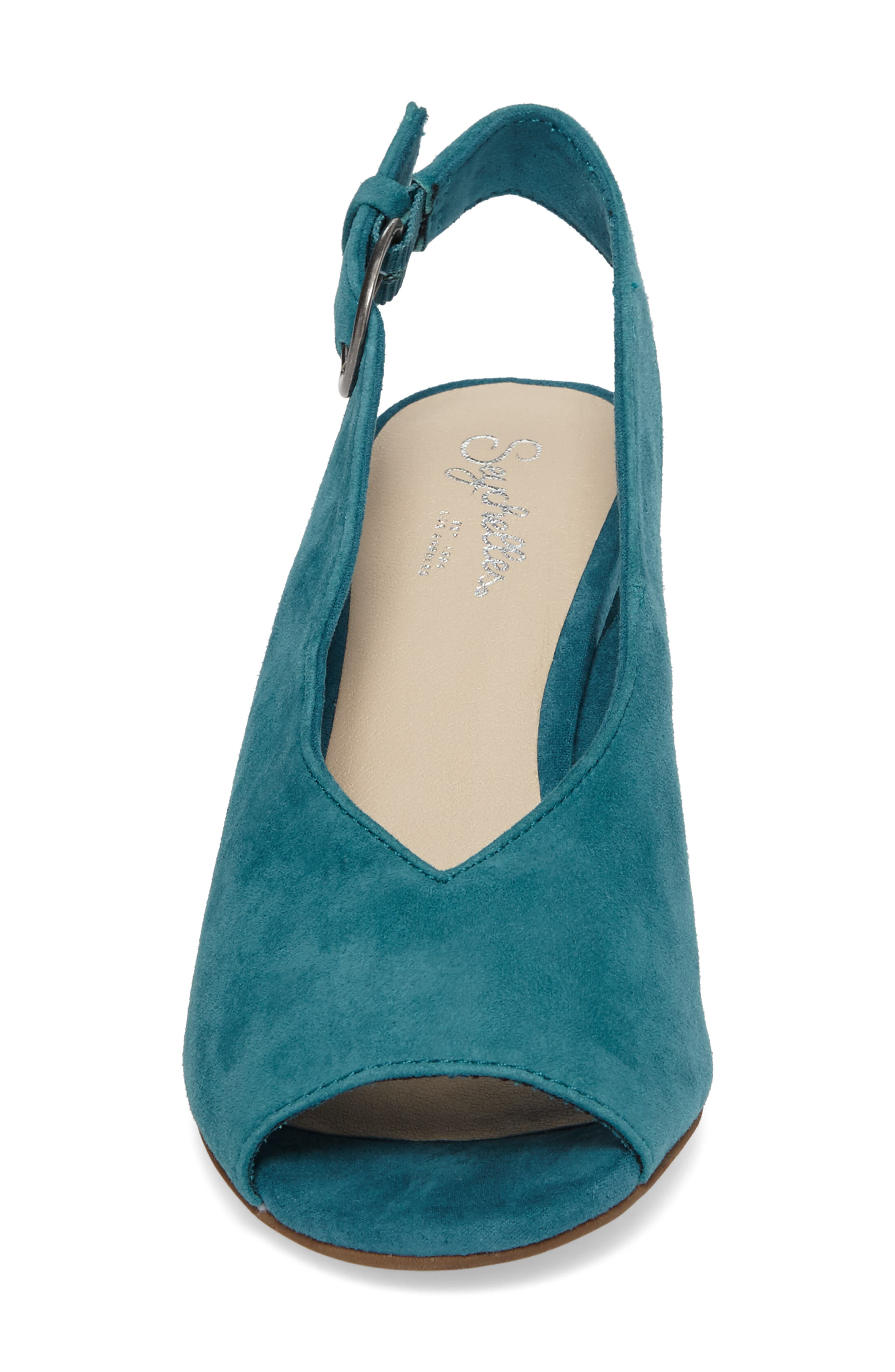 Playwright Slingback Sandal,                             Alternate thumbnail 4, color,                             TEAL SUEDE