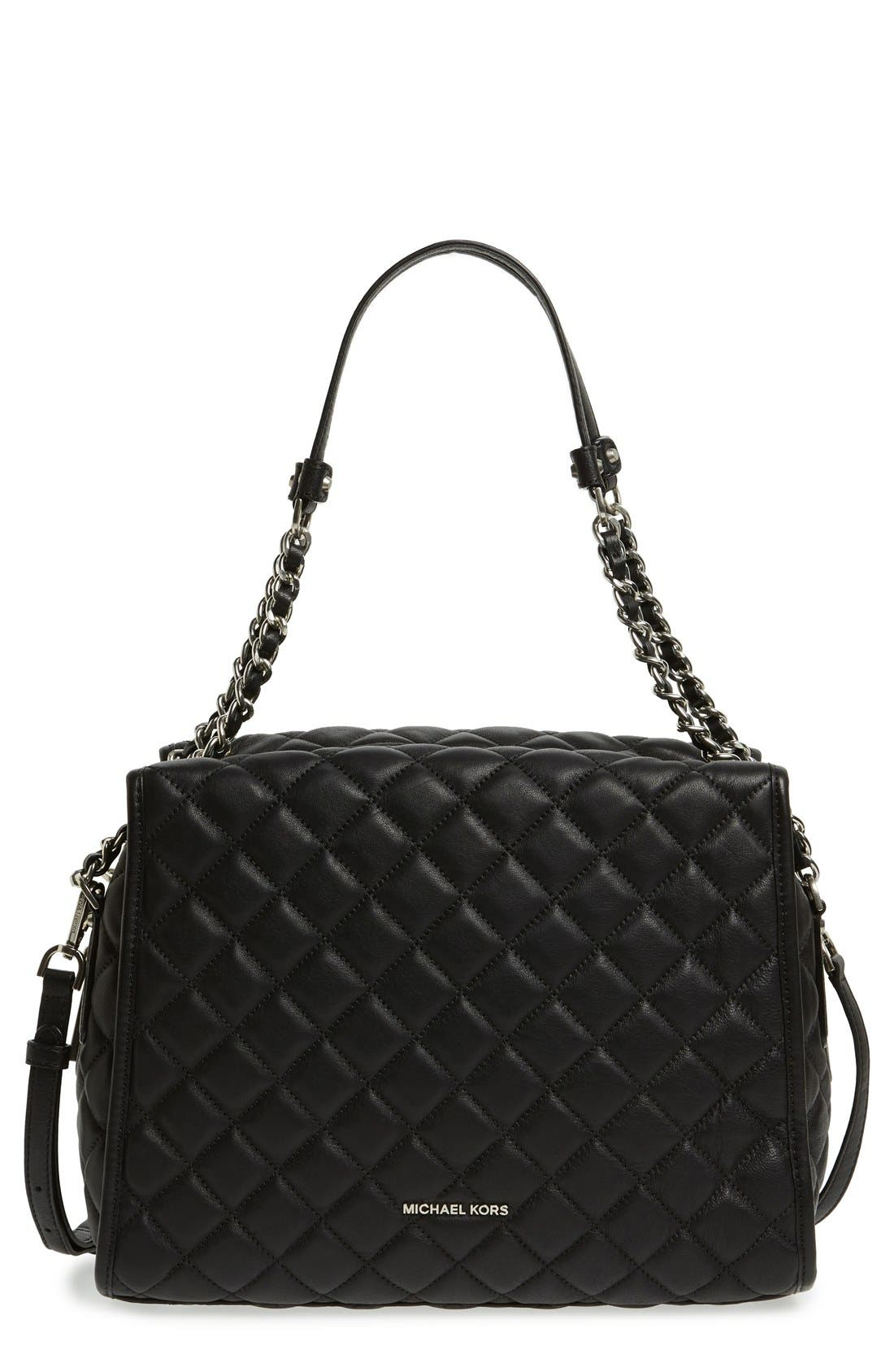 'Rachel - Large' Quilted Leather Satchel, Main, color, 001