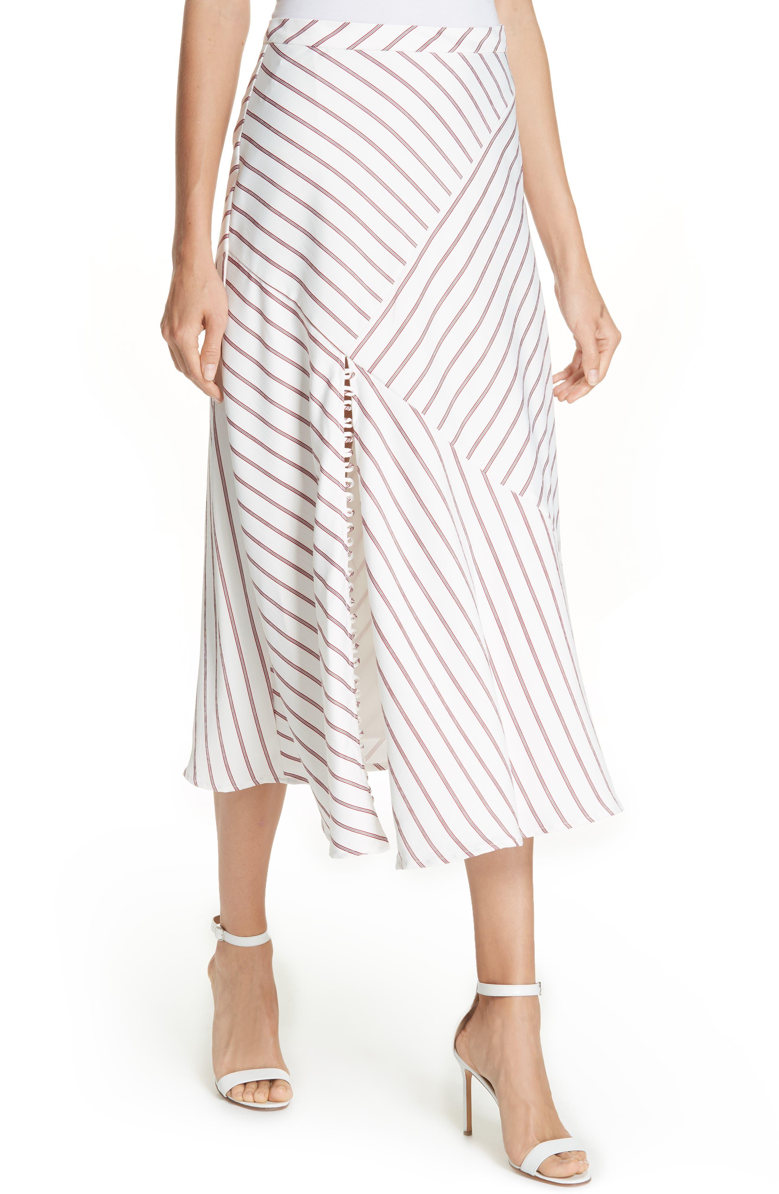 NICHOLAS,                             Stripe Panel Skirt,                             Alternate thumbnail 4, color,                             WHITE/ RED