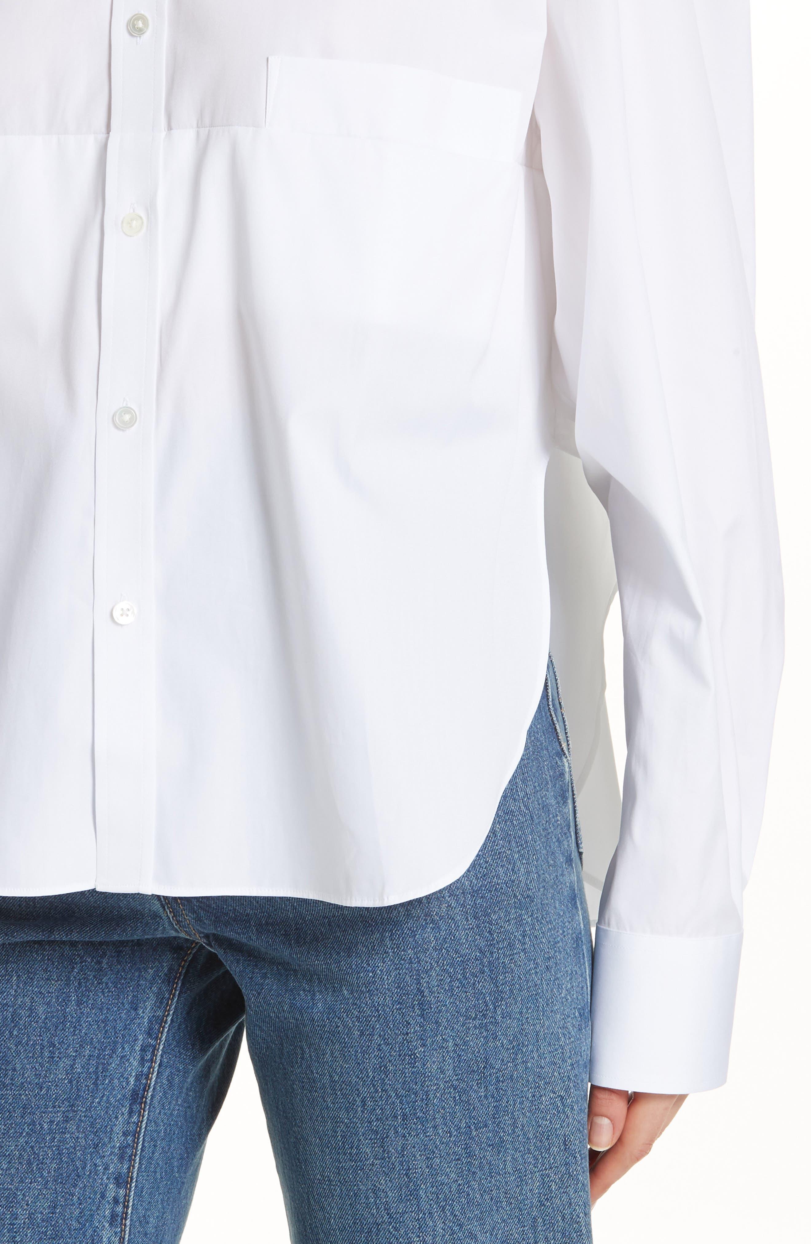 Crop Cotton Shirt,                             Alternate thumbnail 4, color,                             100