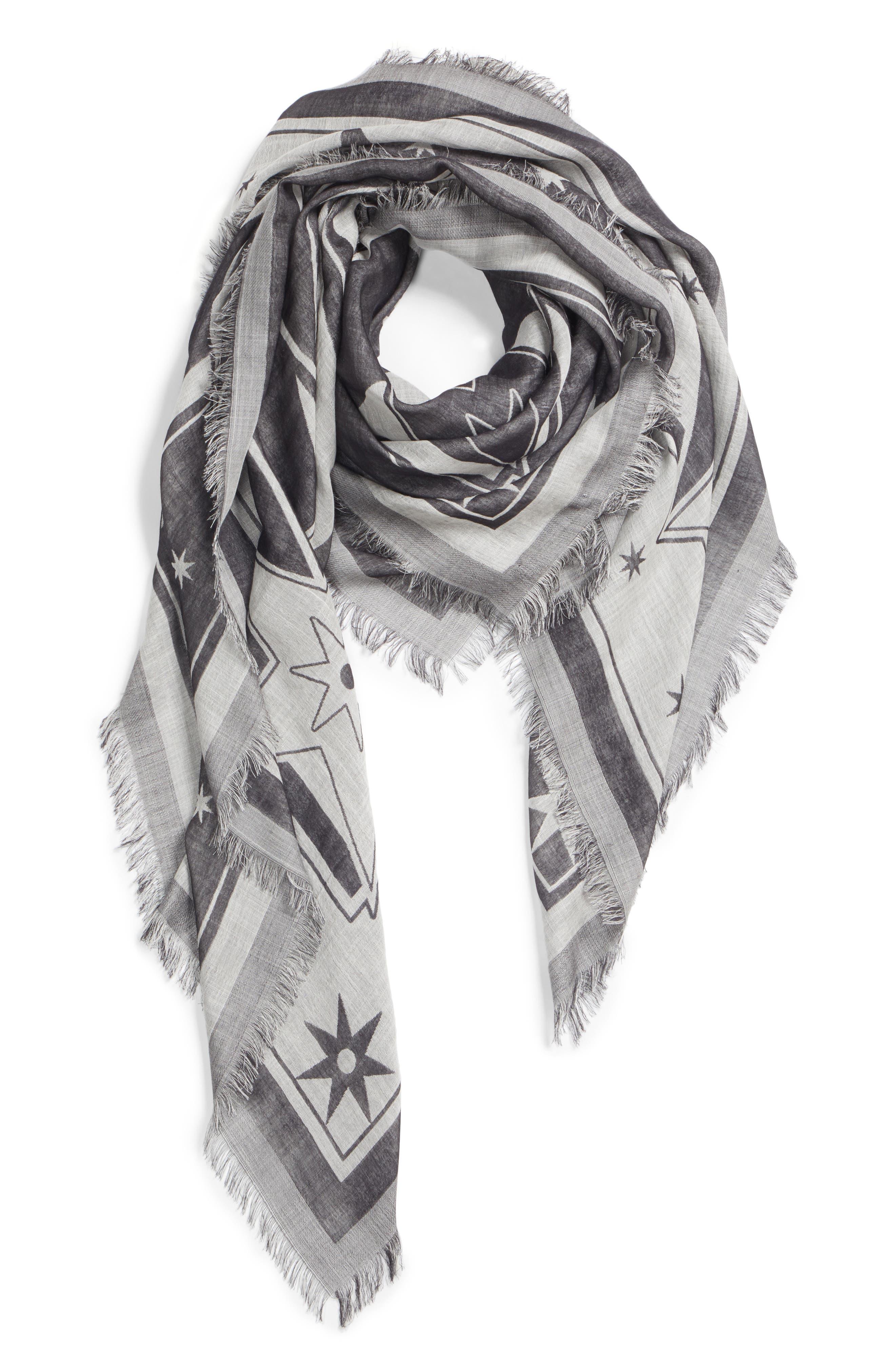 Iconic Flash Jacquard Silk & Wool Shawl,                             Alternate thumbnail 3, color,                             BLACK/ WHITE