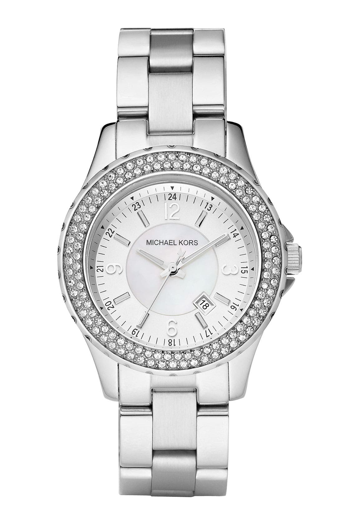 Michael Kors 'Mini Madison' Twin Row Crystal Watch, 33mm,                             Main thumbnail 1, color,                             040