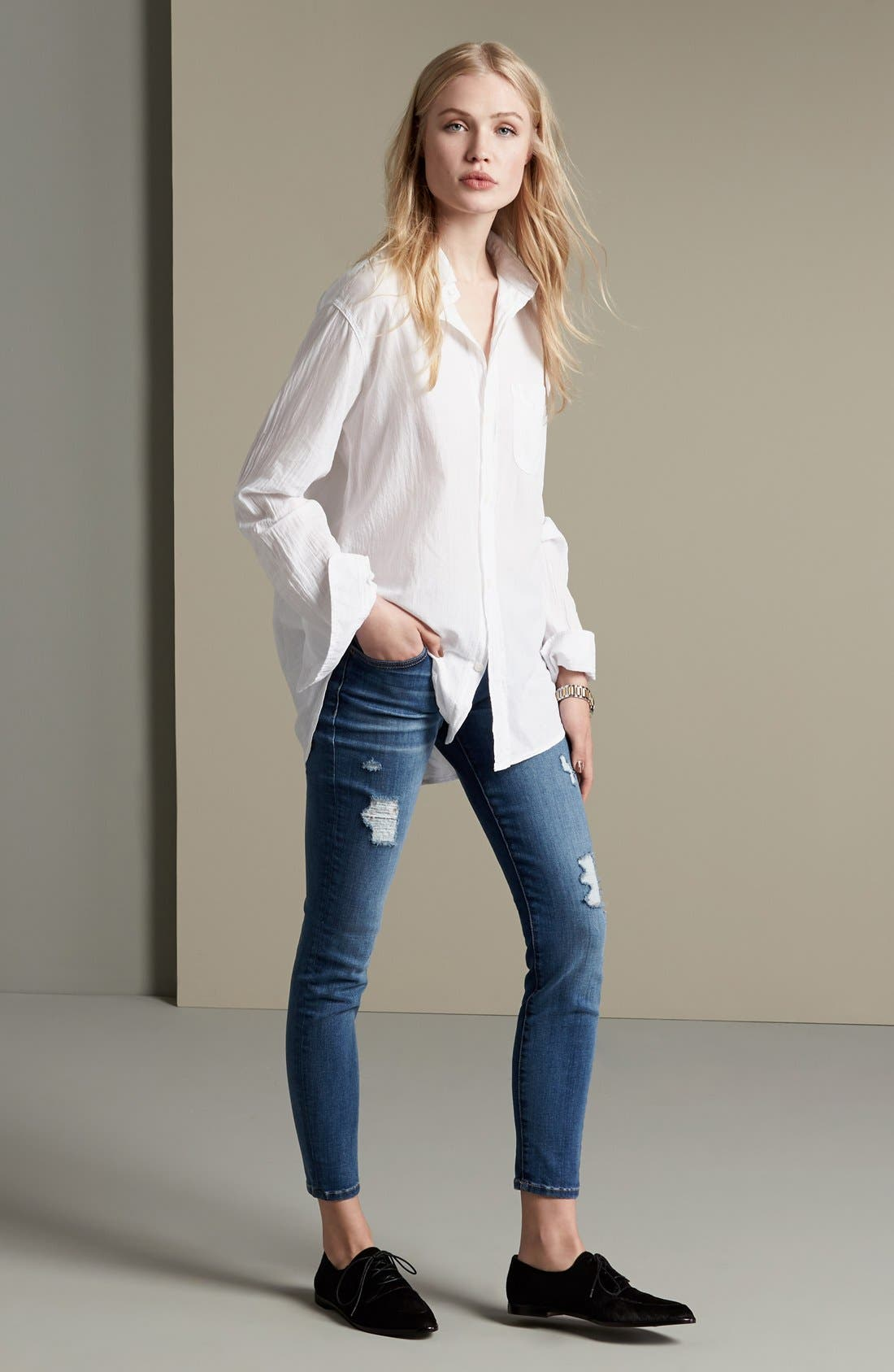 'The Stiletto' Destroyed Skinny Jeans,                             Alternate thumbnail 4, color,                             475