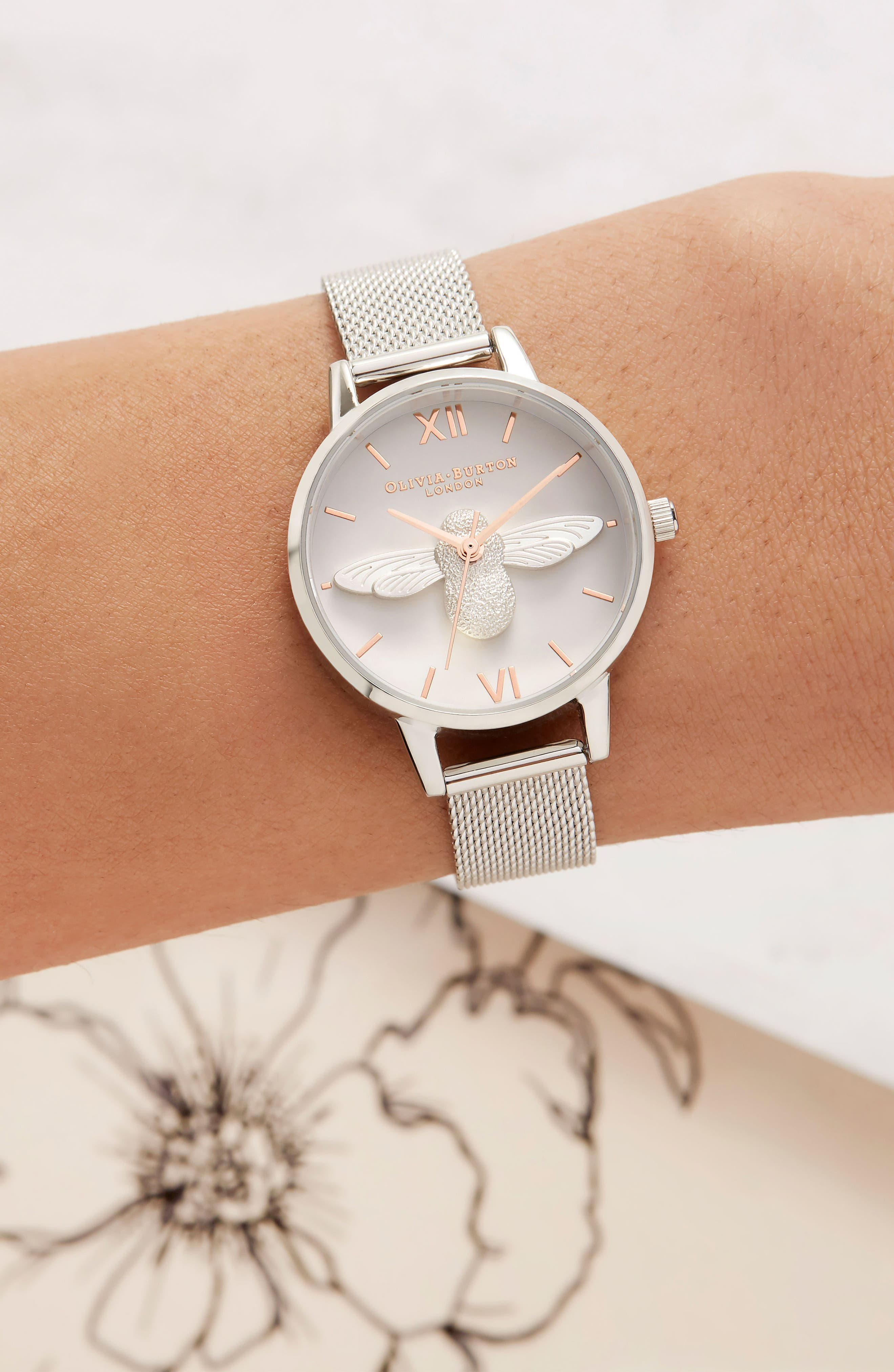 Bee Mesh Strap Watch, 30mm,                             Alternate thumbnail 6, color,                             SILVER/ BEE/ SILVER