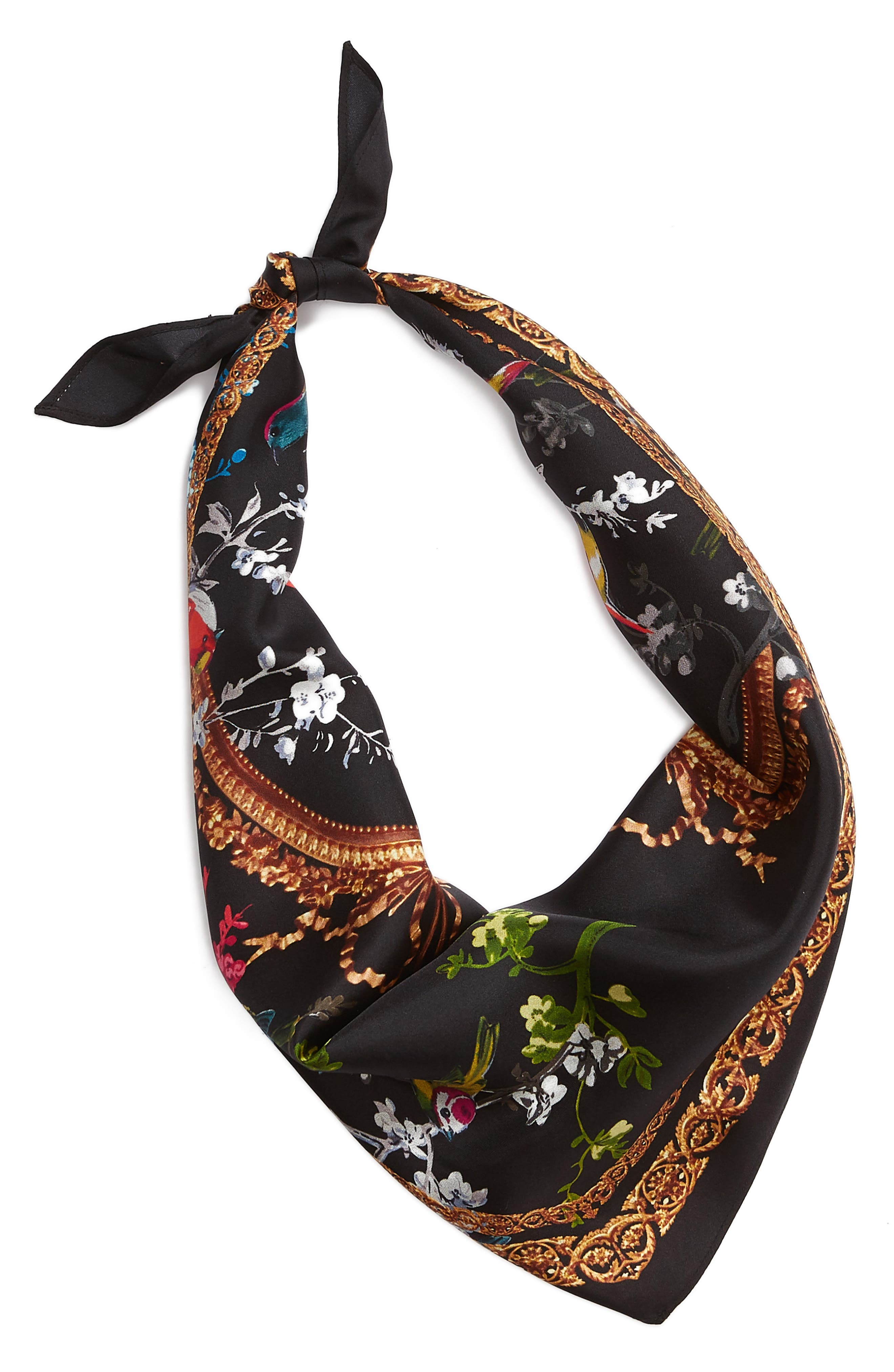 Opulent Fauna Kite Silk Scarf,                             Alternate thumbnail 2, color,                             BLACK