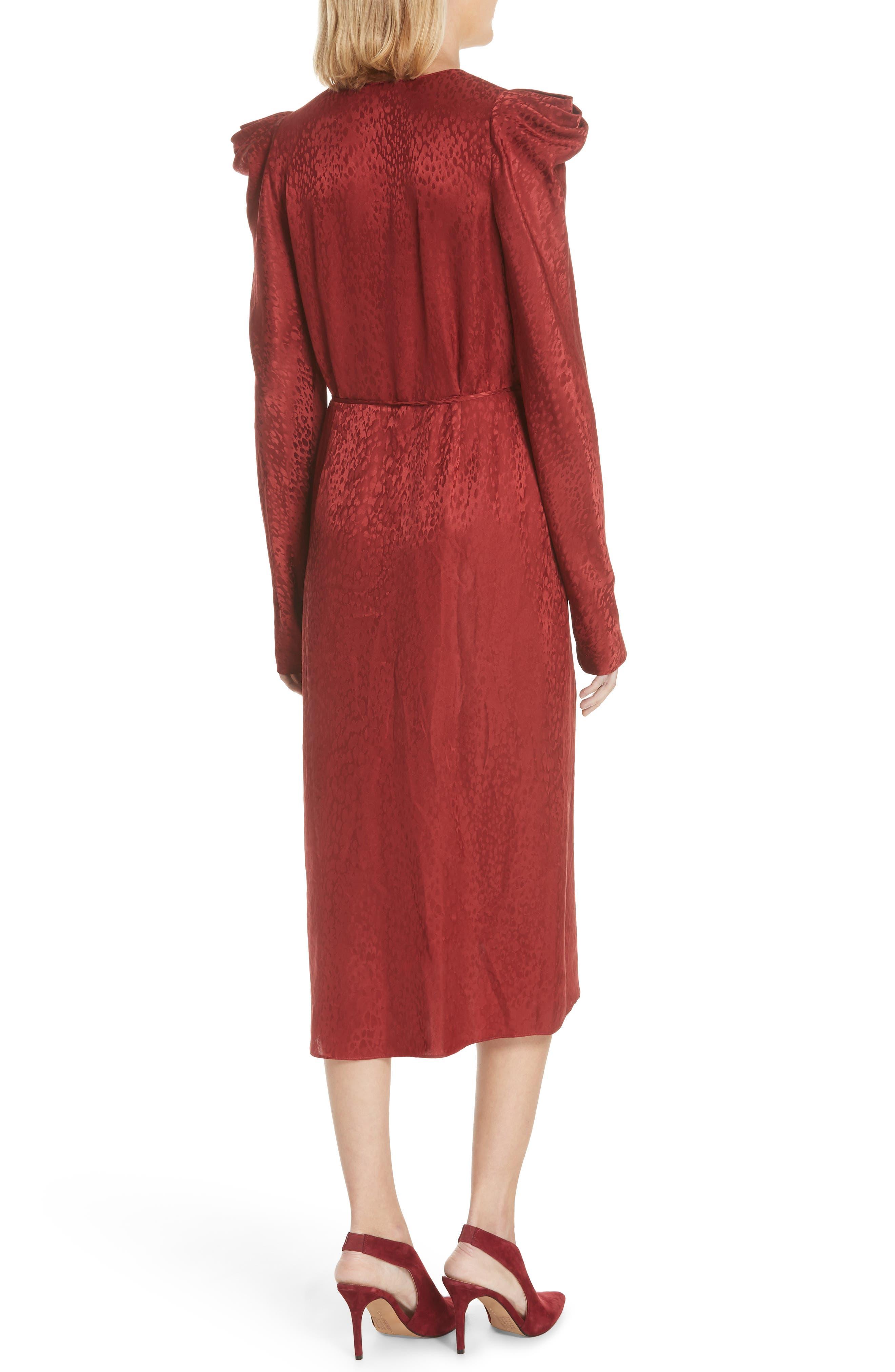 Carolina Puff Shoulder Silk Jacquard Dress,                             Alternate thumbnail 2, color,                             CRIMSON
