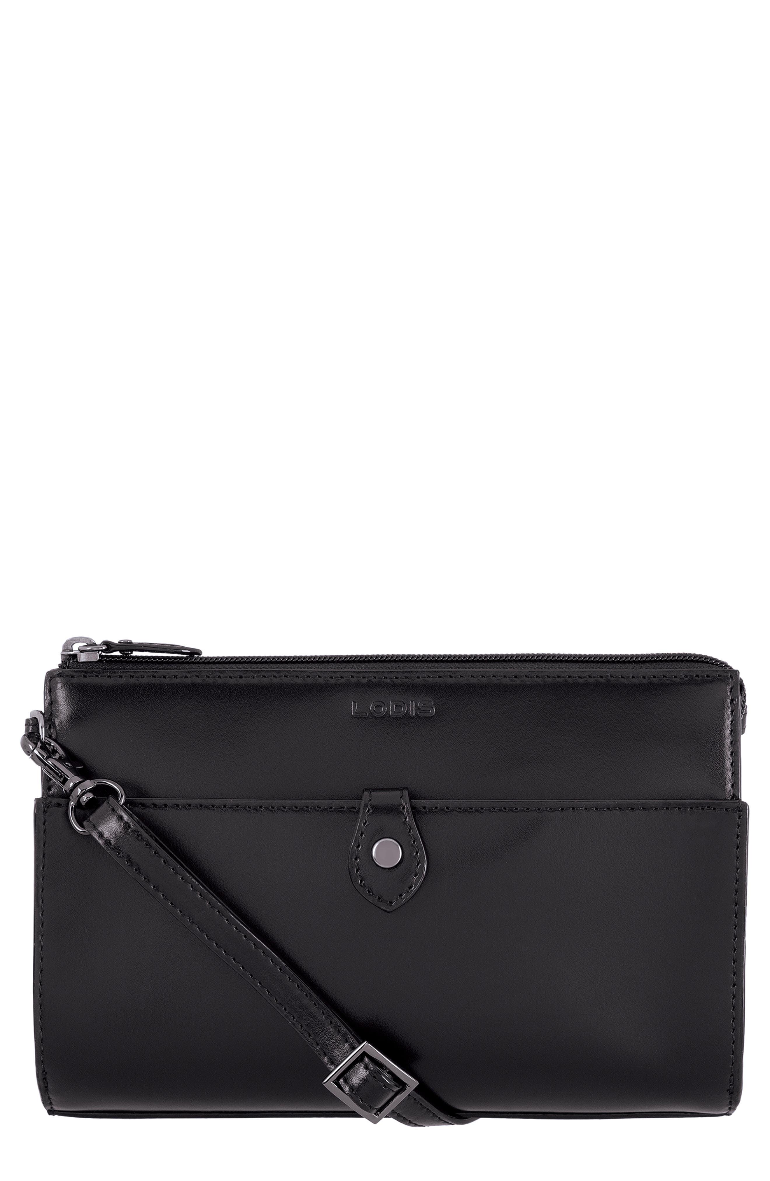 Audrey Under Lock & Key Vicky Convertible Leather Crossbody Bag,                         Main,                         color, BLACK/ BLACK