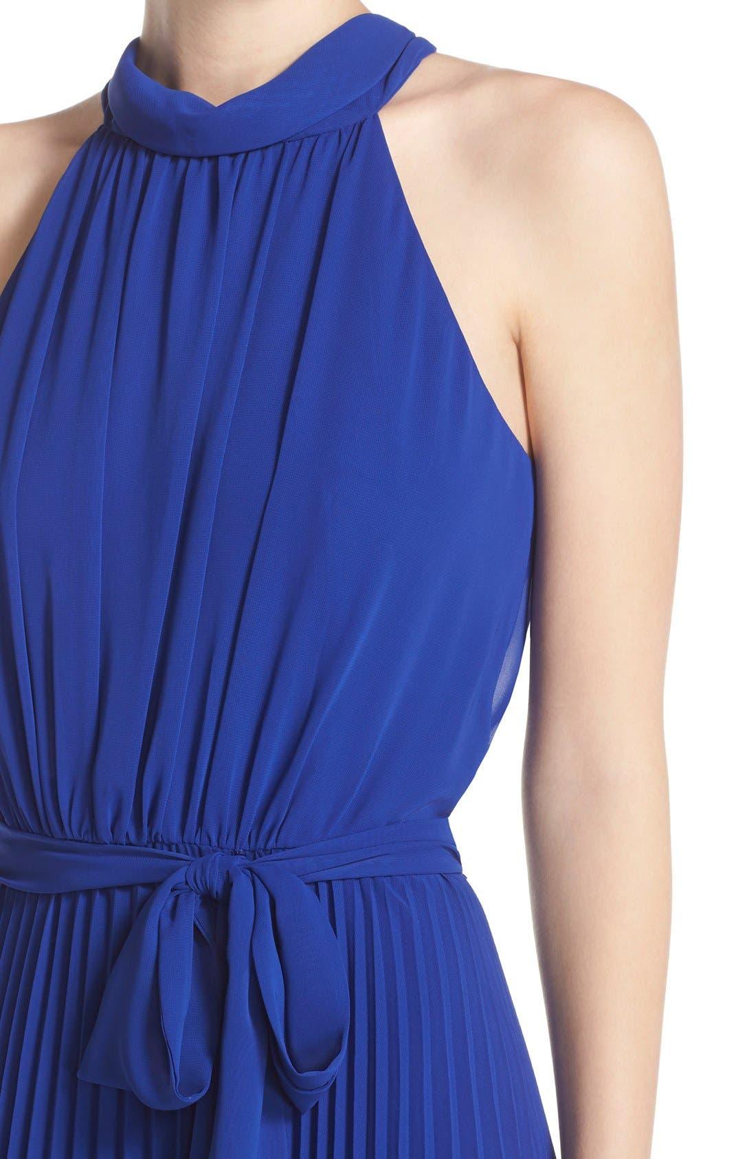 Pleated Chiffon Maxi Dress,                             Alternate thumbnail 4, color,                             430
