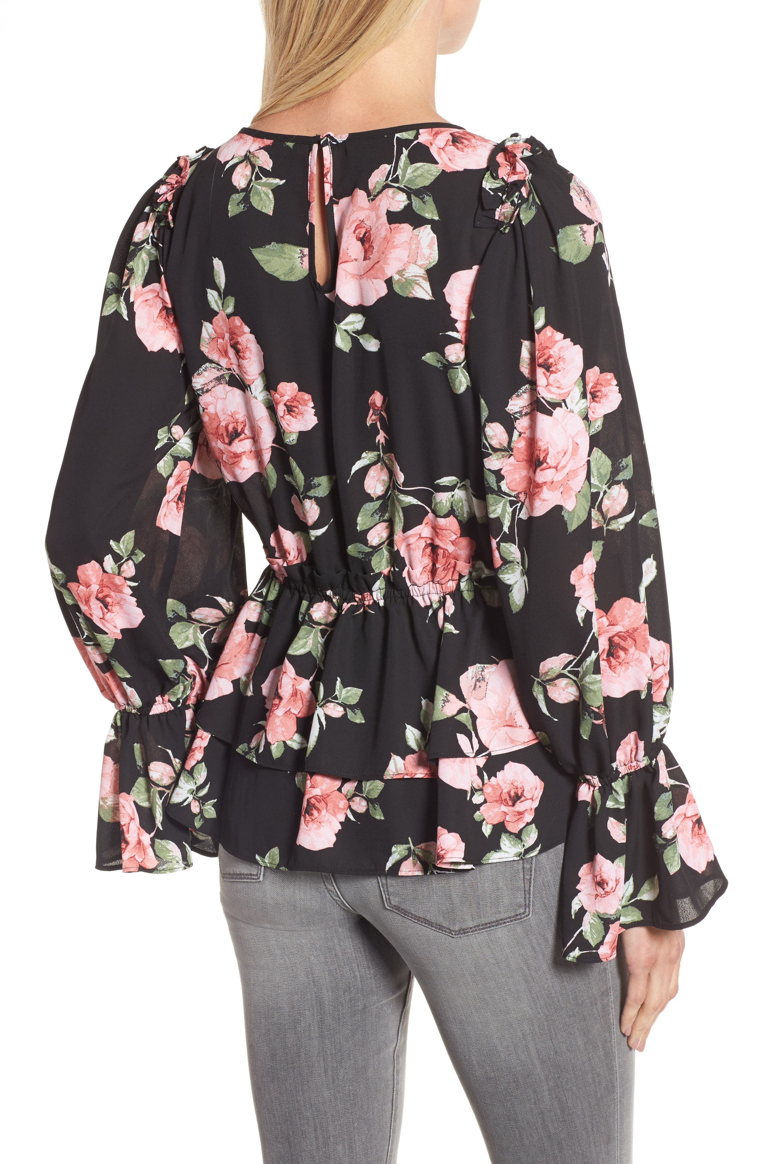Floral Ruffle Blouse,                             Alternate thumbnail 2, color,                             001