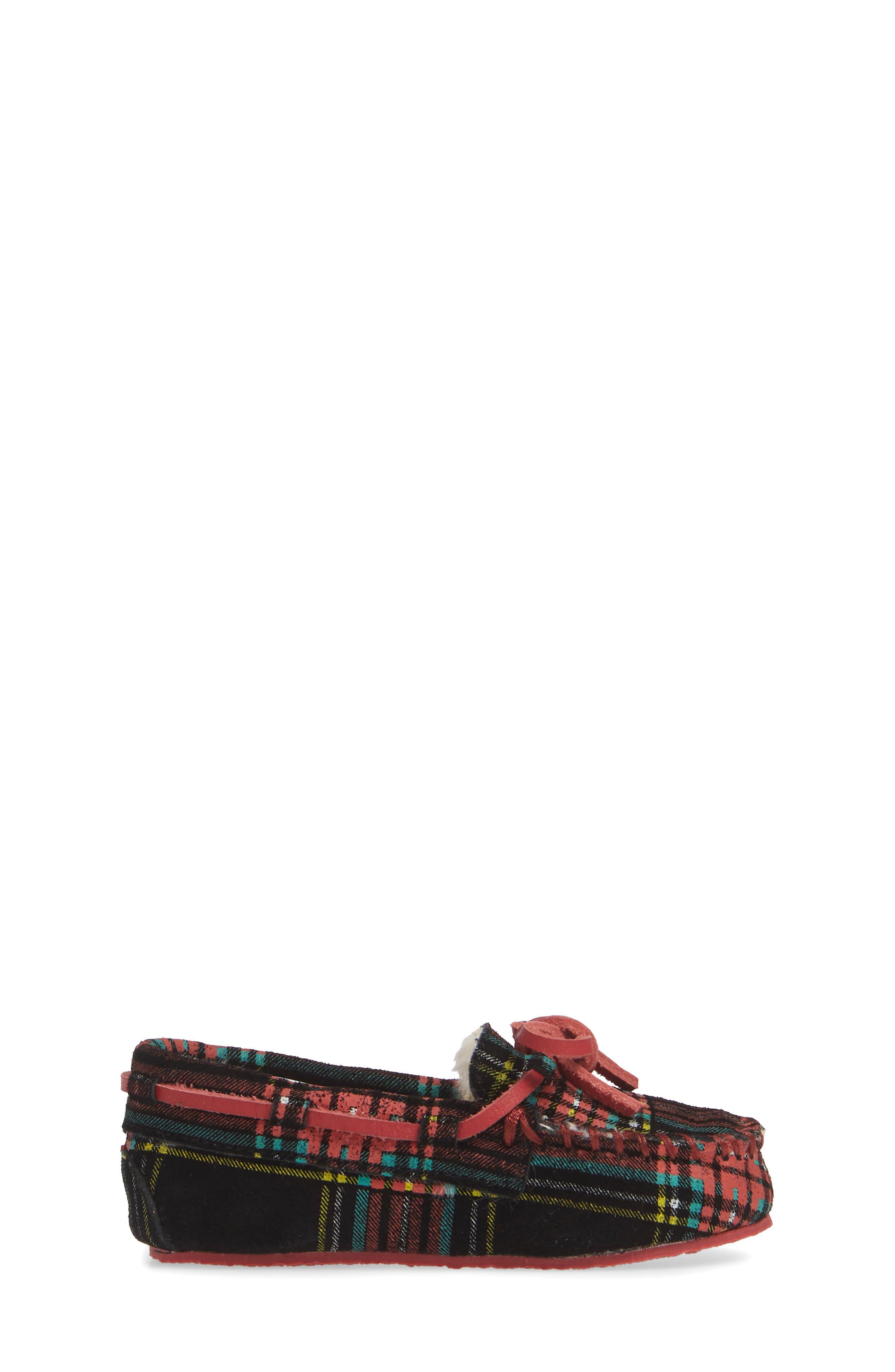 Stewart Black Tartan Moccasin,                             Alternate thumbnail 3, color,                             BLACK RED MULTI