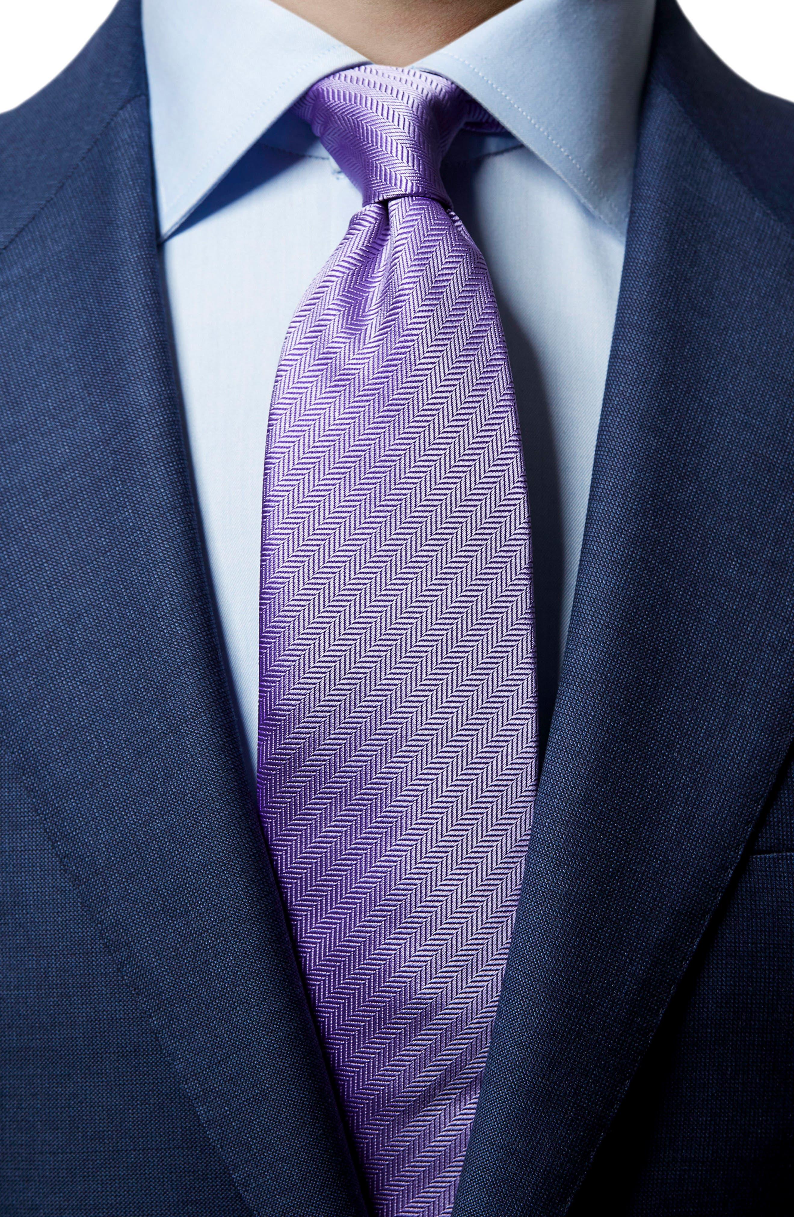 Herringbone Textured Silk Tie,                             Alternate thumbnail 5, color,                             LAVENDER
