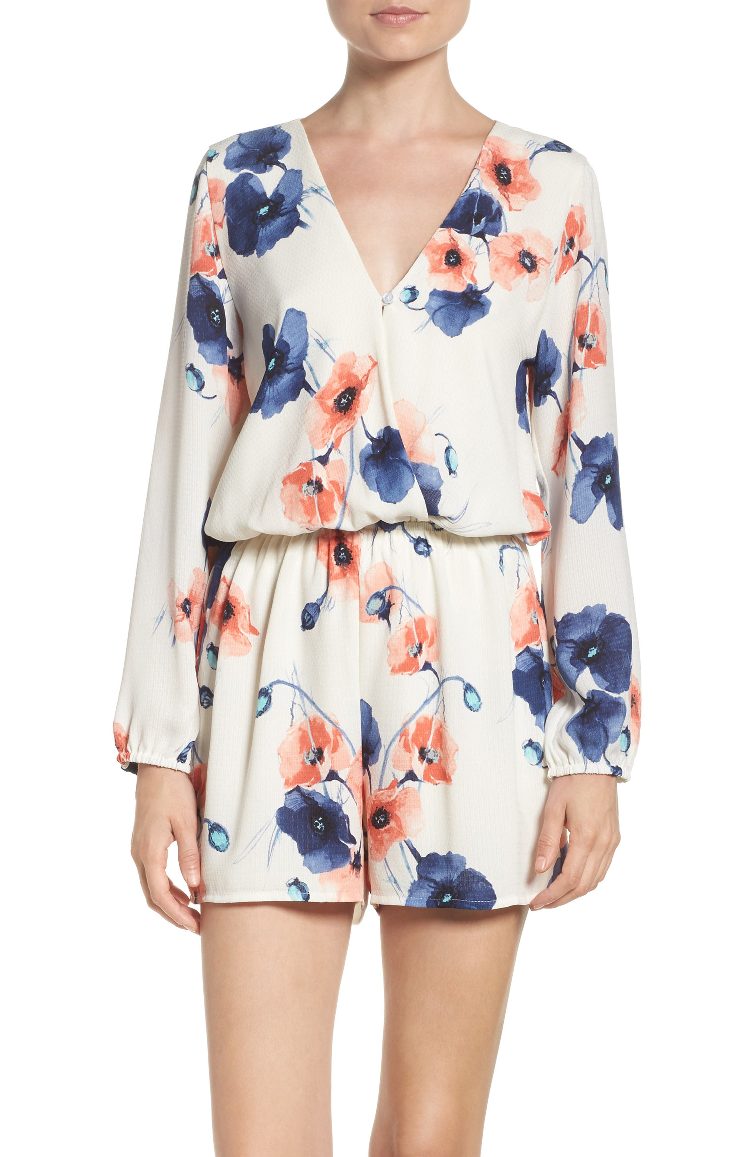 Floral Romper,                             Alternate thumbnail 2, color,
