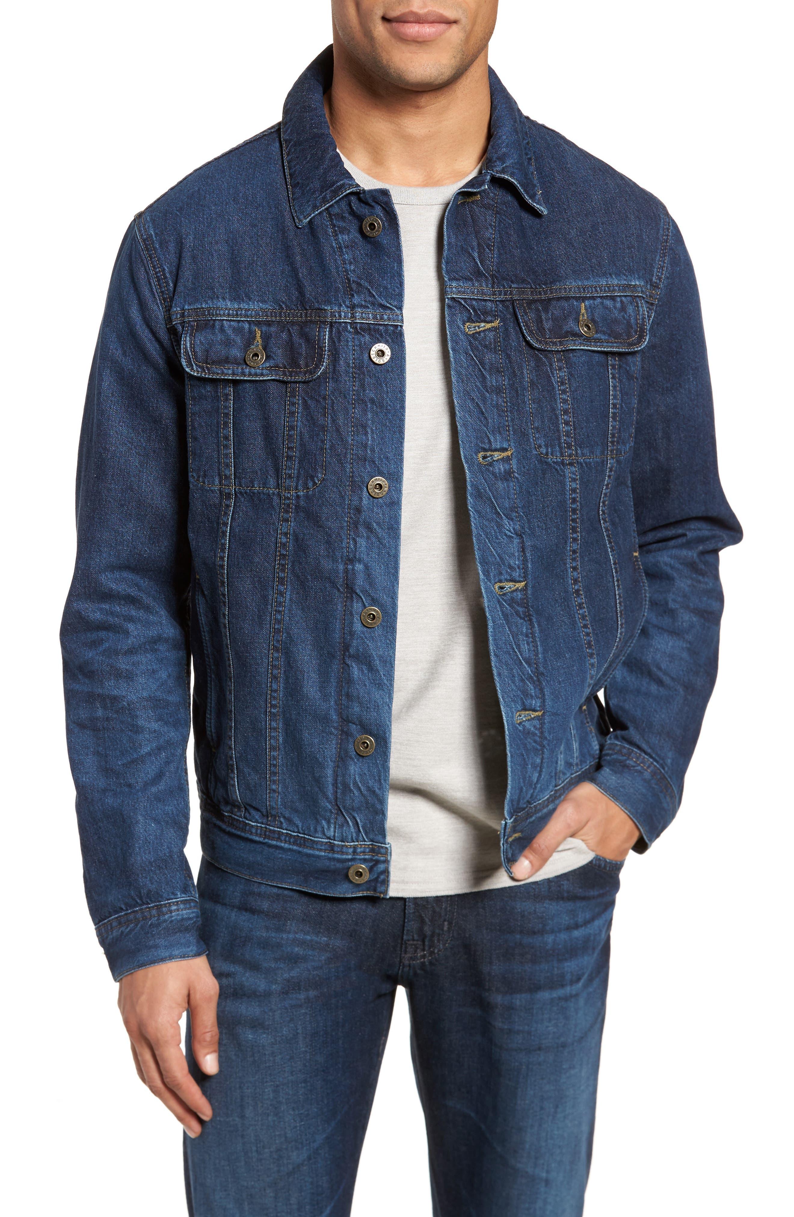 Regular Fit Lined Denim Jacket,                             Main thumbnail 1, color,