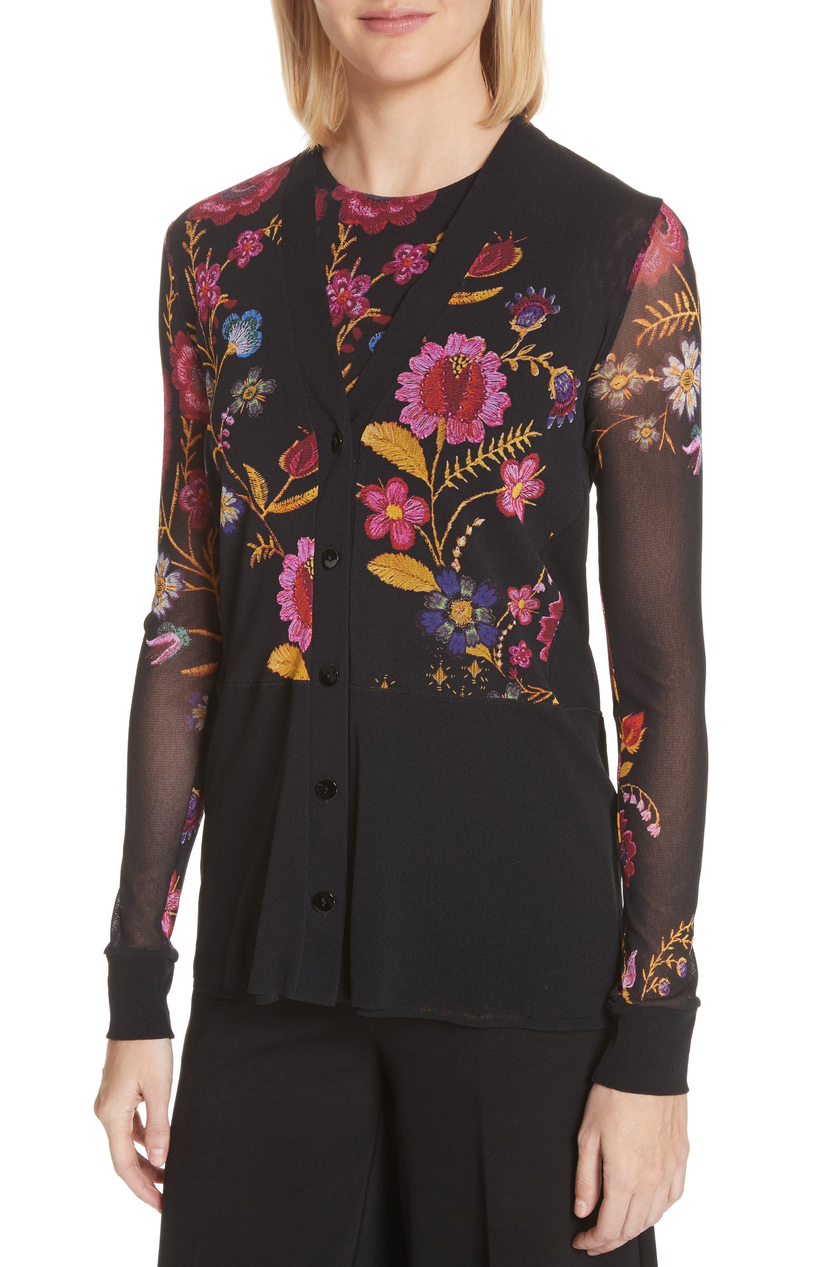 Folk Floral Button Cardigan,                             Alternate thumbnail 4, color,                             001