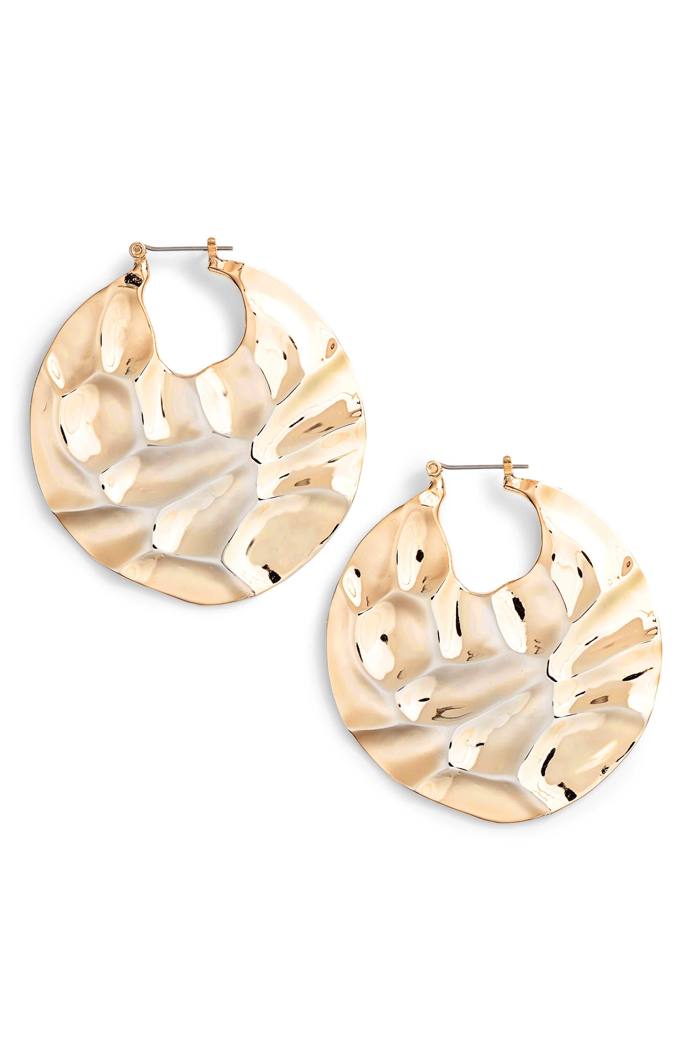 Molten Disc Hoop Earrings,                         Main,                         color, GOLD