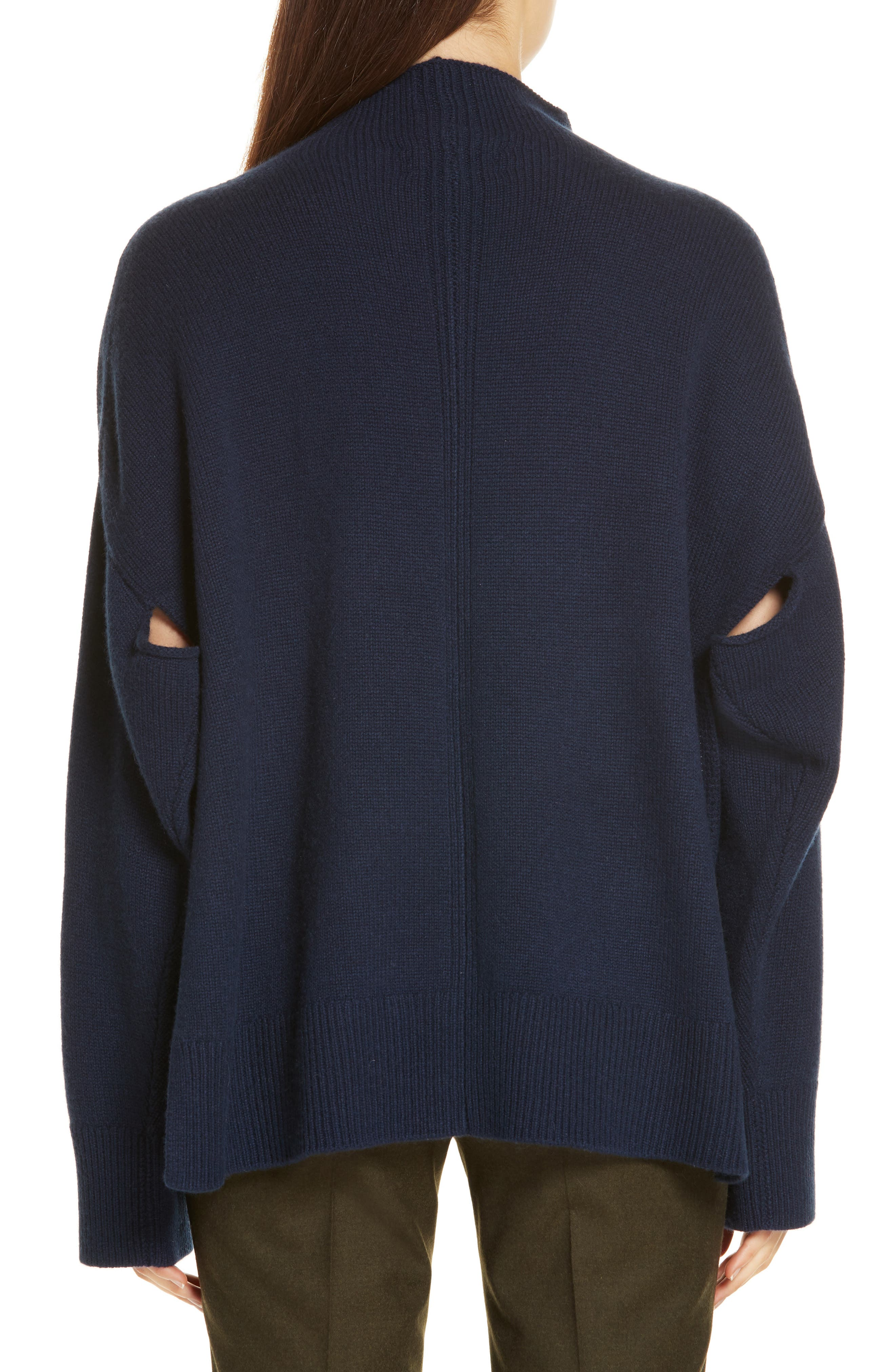 Side Slit Cashmere Sweater,                             Alternate thumbnail 2, color,                             NAVY MEDIEVAL