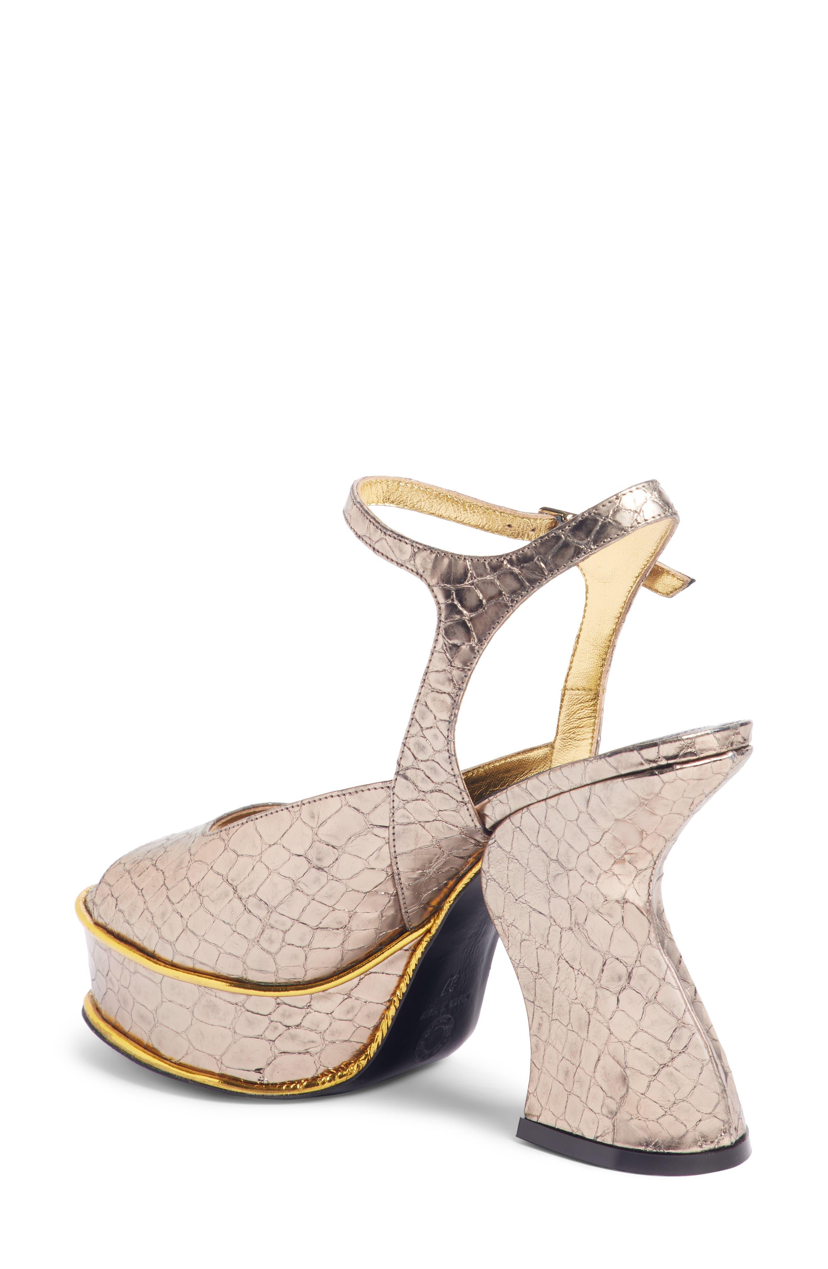 Wave Heel Platform Sandal,                             Alternate thumbnail 2, color,                             SILVER