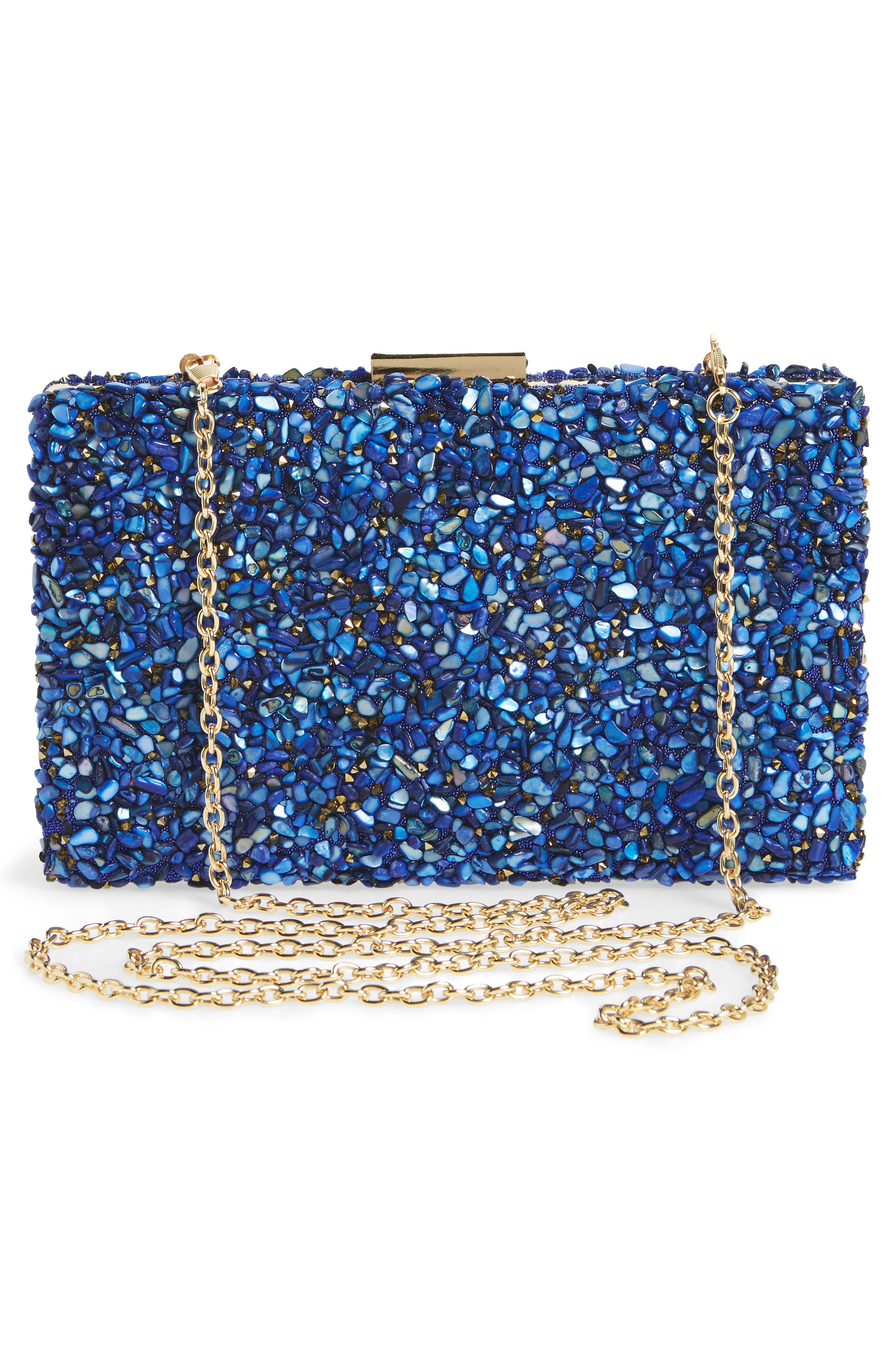 Chips Embellished Box Clutch,                             Alternate thumbnail 9, color,