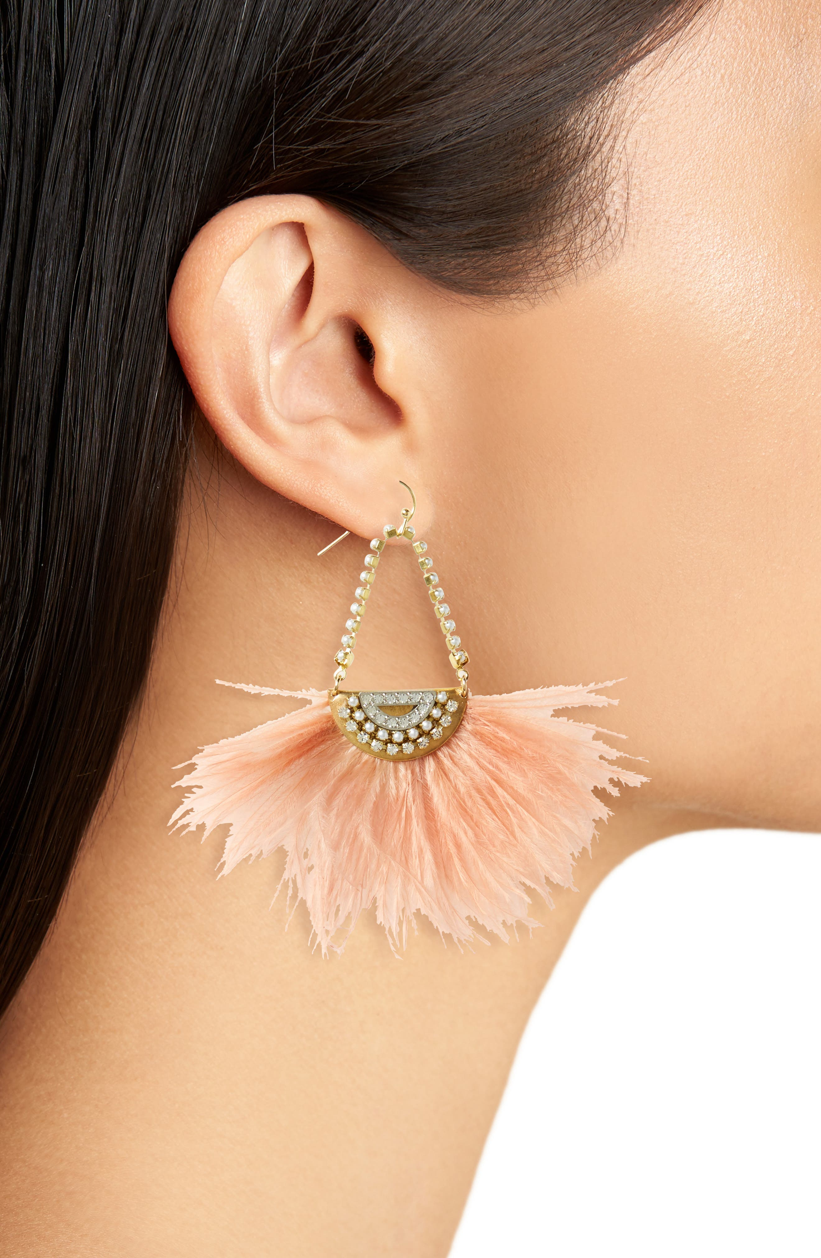Pearl Feather Earrings,                             Alternate thumbnail 2, color,                             650
