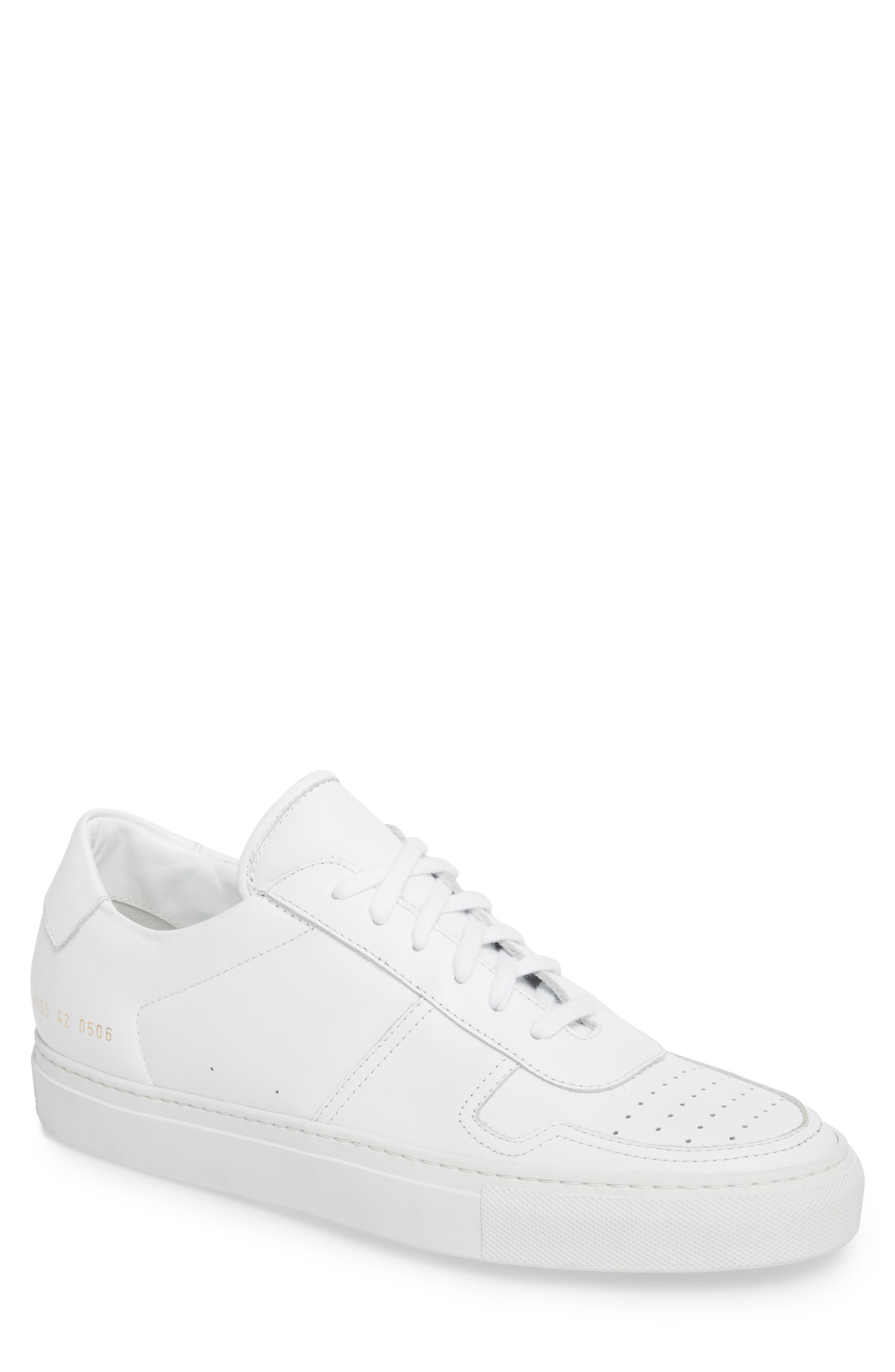 Bball Low Top Sneaker,                         Main,                         color, WHITE LEATHER