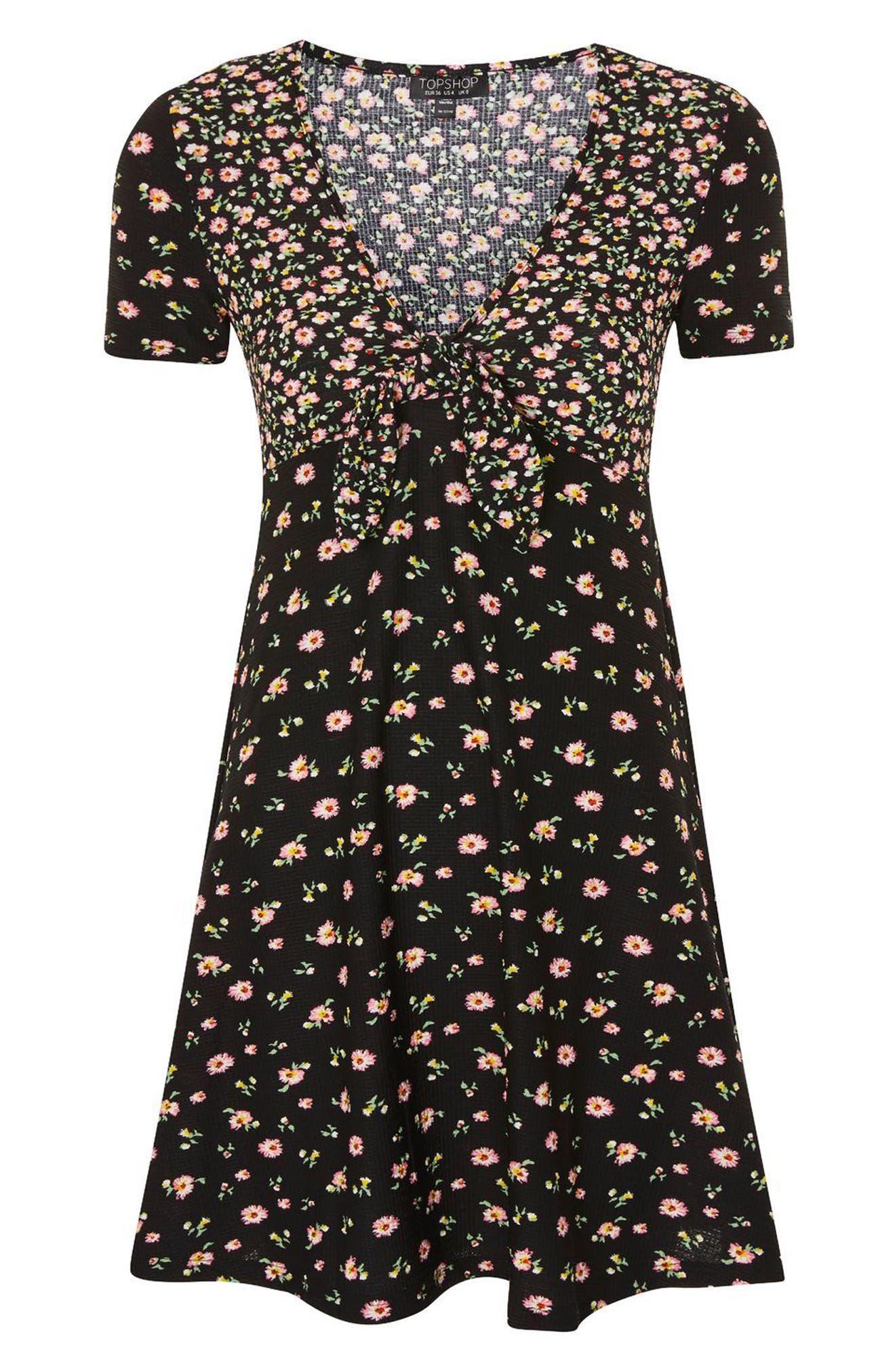 Mixed Floral Tea Dress,                             Alternate thumbnail 4, color,