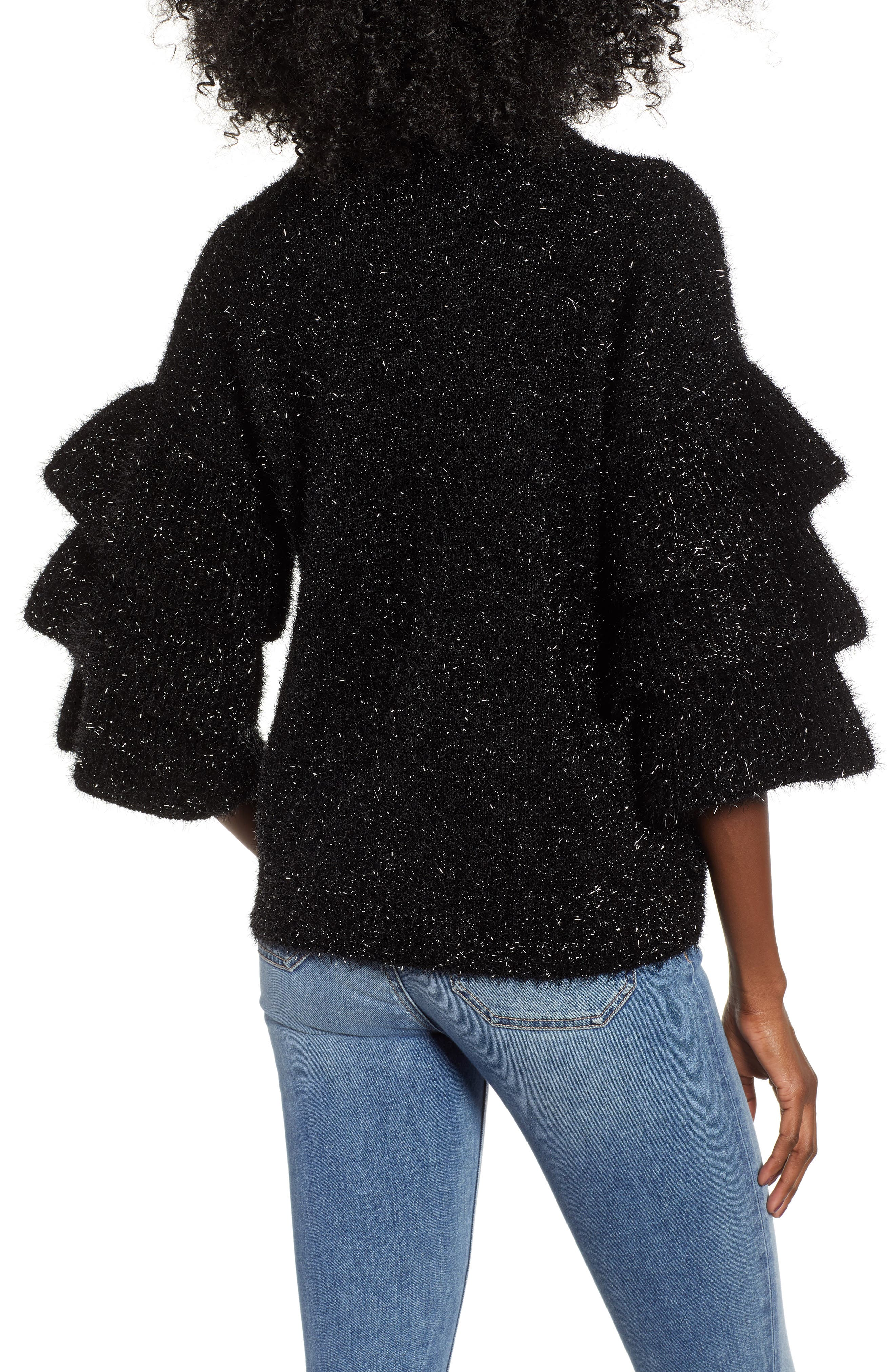 Tiered Sleeve Sweater,                             Alternate thumbnail 2, color,                             BLACK