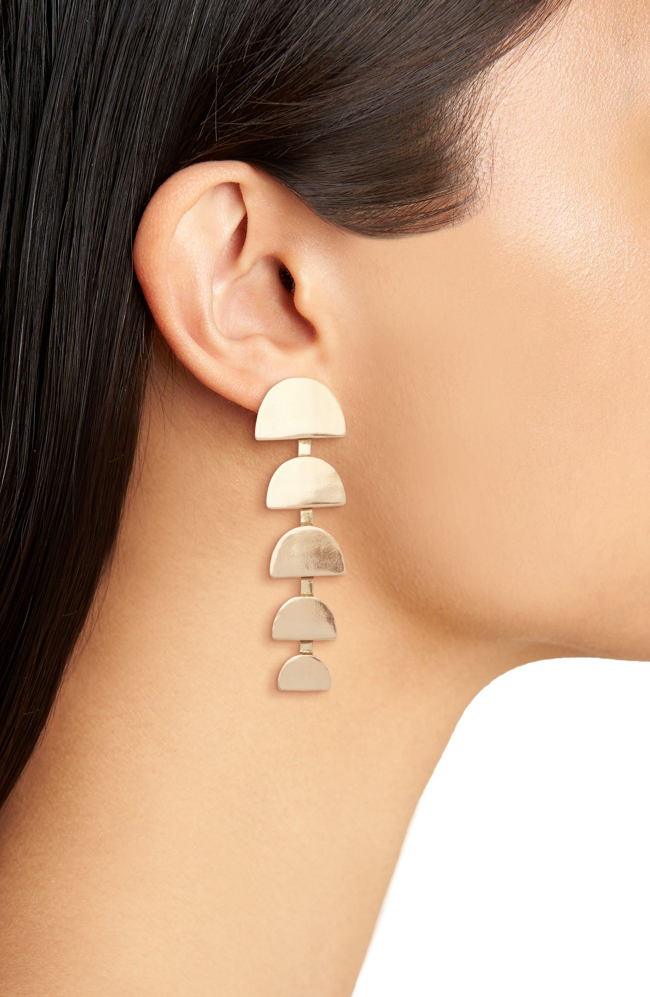 Half Moon Linear Drop Earrings,                             Alternate thumbnail 2, color,