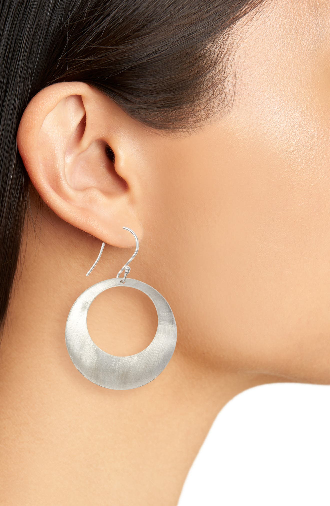 Brushed Circle Earrings,                             Alternate thumbnail 3, color,                             040