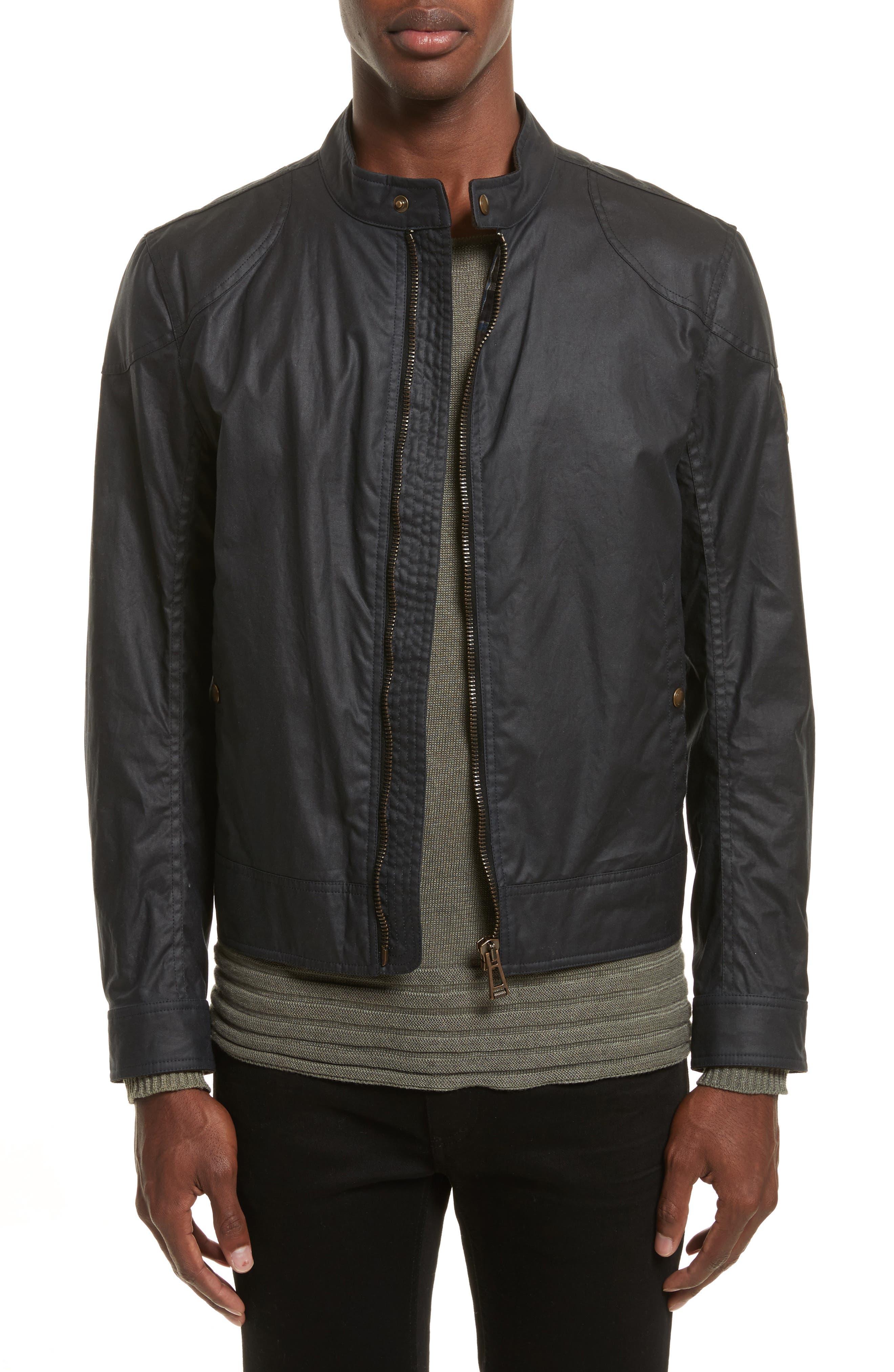 Kelland Coated Cotton Moto Jacket,                         Main,                         color, DARK NAVY