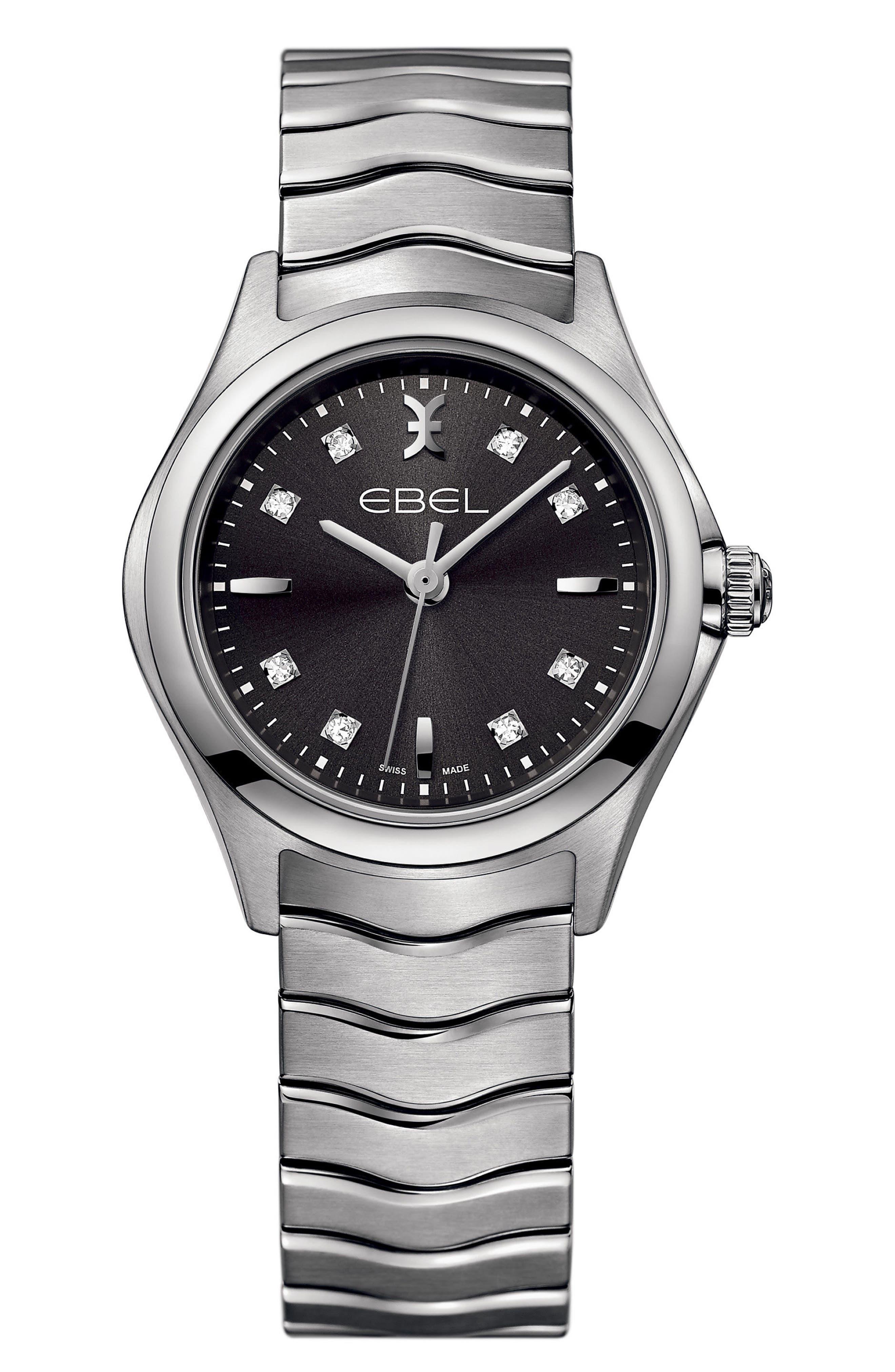 Wave Bracelet Watch, 30mm,                             Main thumbnail 1, color,                             SILVER/ BLACK/ SILVER