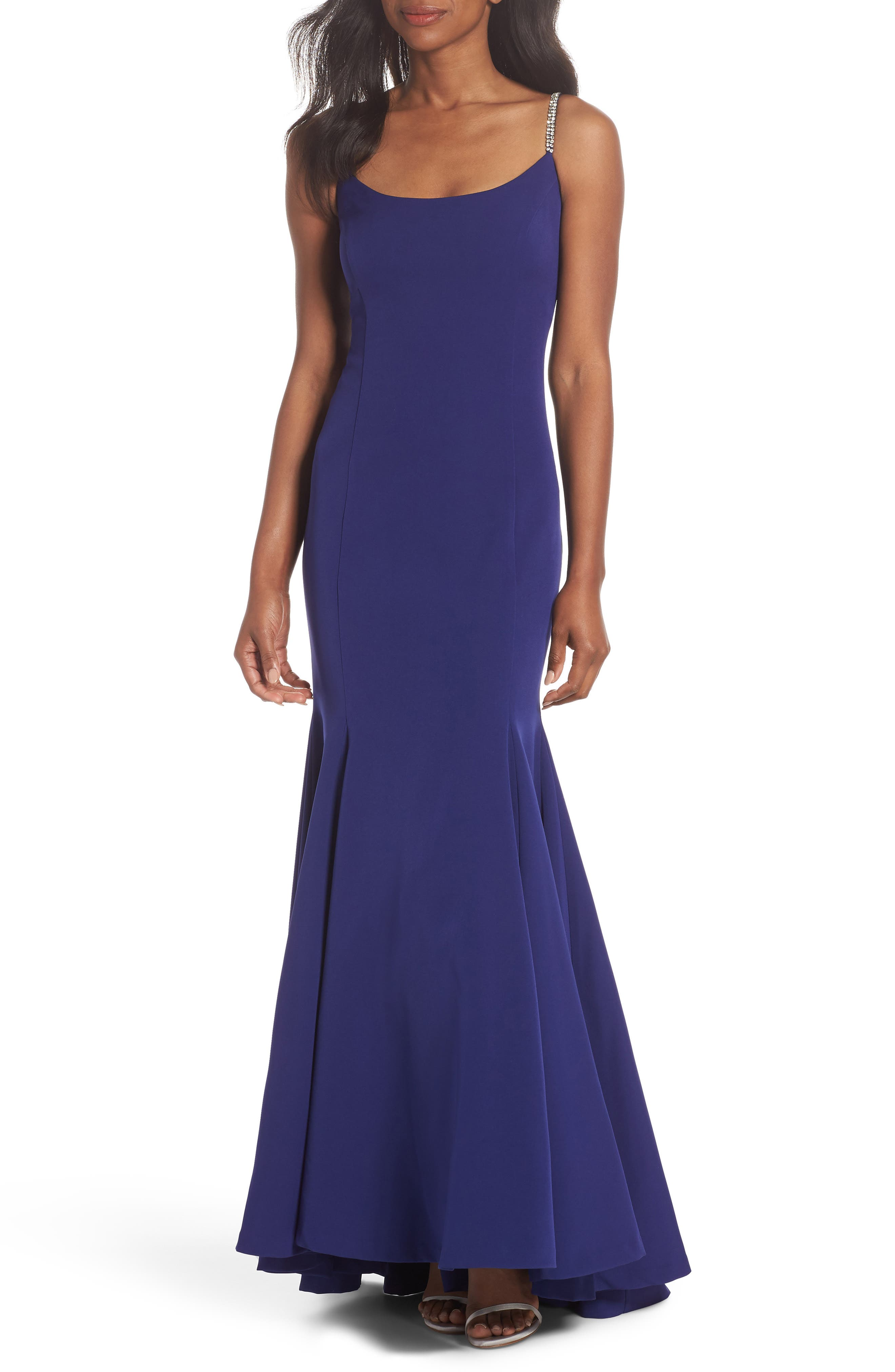 VINCE CAMUTO Laguna Crystal Strap Mermaid Gown, Main, color, 430