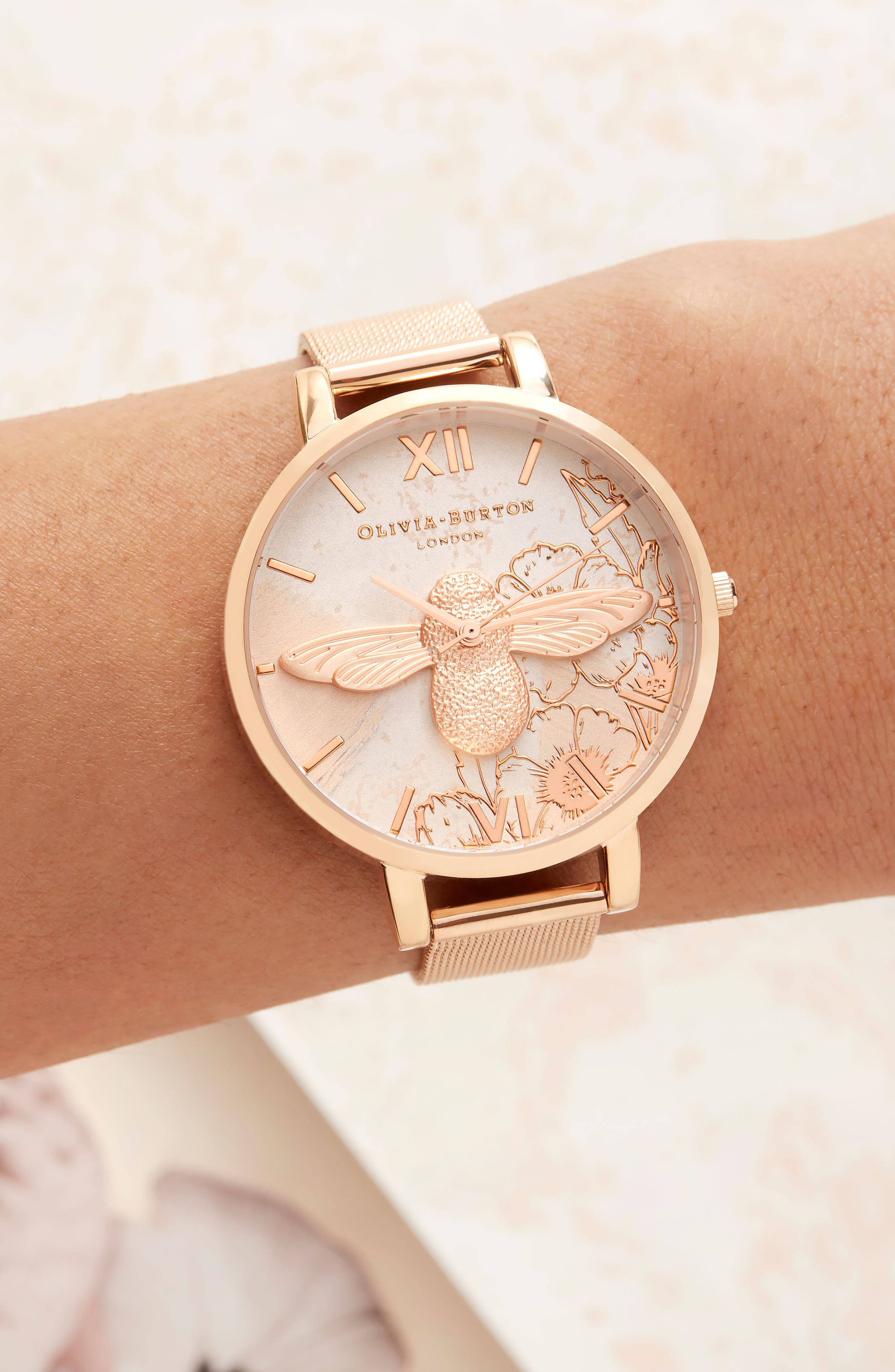 Abstract Floral Mesh Strap Watch, 38mm,                             Alternate thumbnail 8, color,                             ROSE GOLD/ FLORAL/ ROSE GOLD