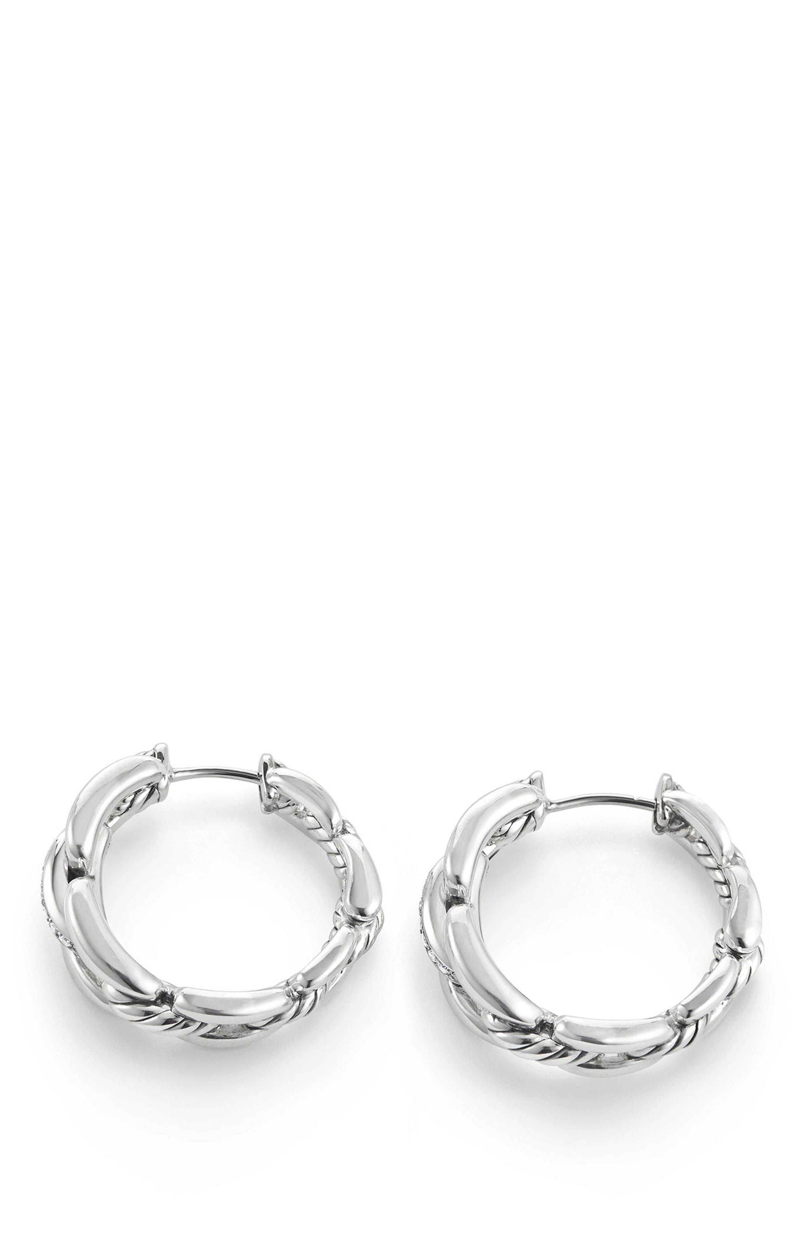 Wellesley Link Hoop Earrings with Diamonds, 23mm,                             Alternate thumbnail 2, color,                             SILVER