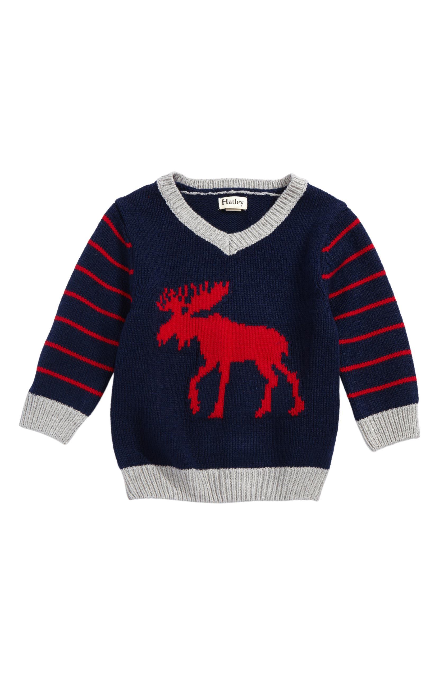 cbb56c81fbed Hatley Moose Intarsia V-Neck Sweater (Baby Boys)