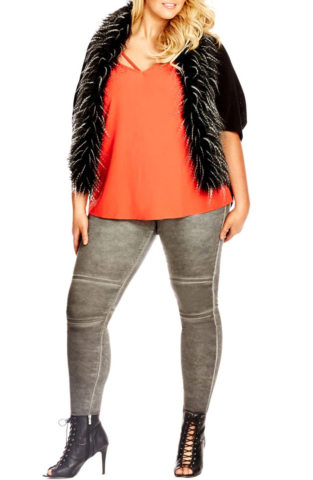 'New Yorker' Faux Fur Trim Cardigan,                             Alternate thumbnail 3, color,                             001