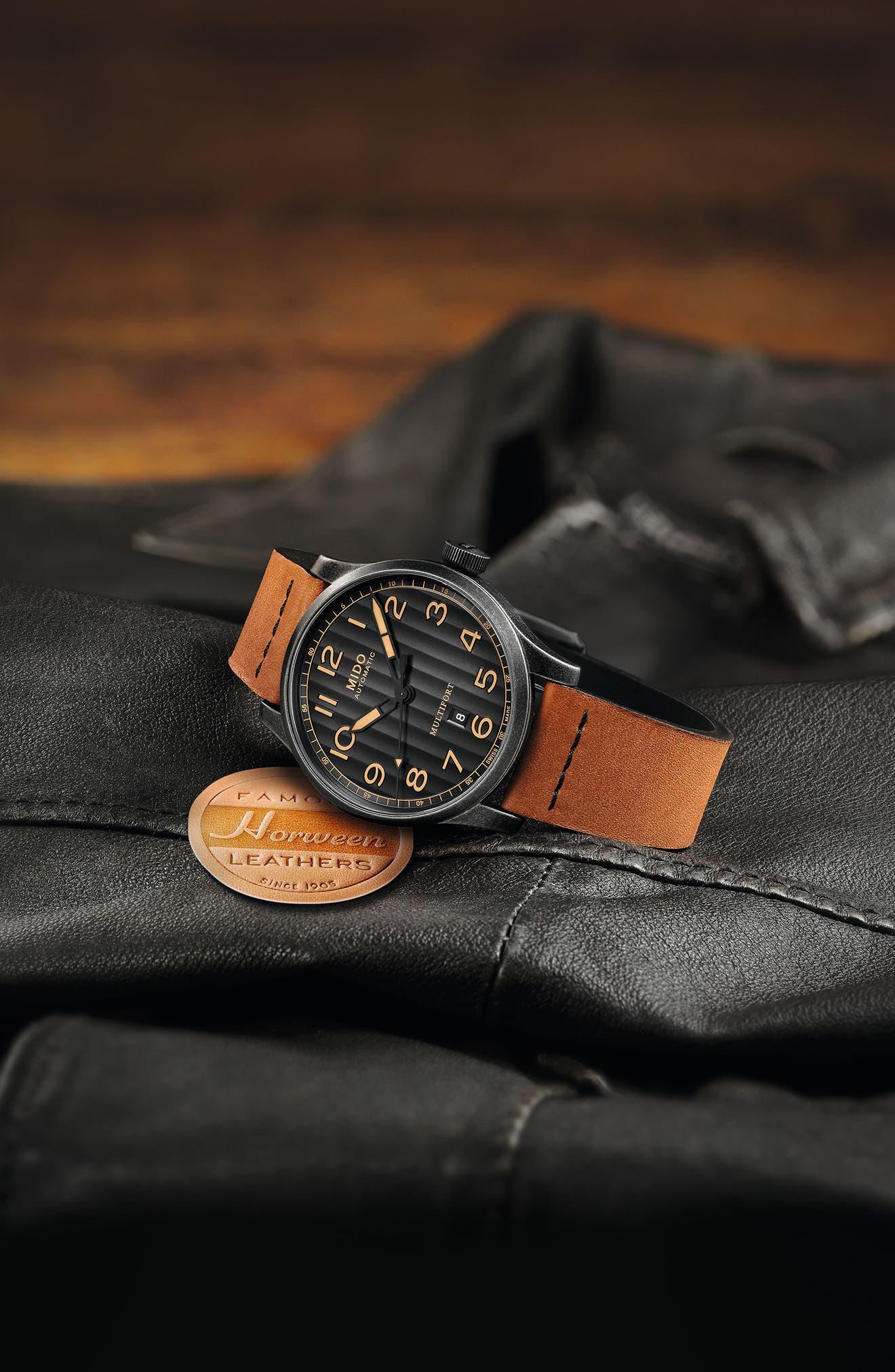 Multifort Escape Leather Strap Watch, 44mm,                             Alternate thumbnail 7, color,