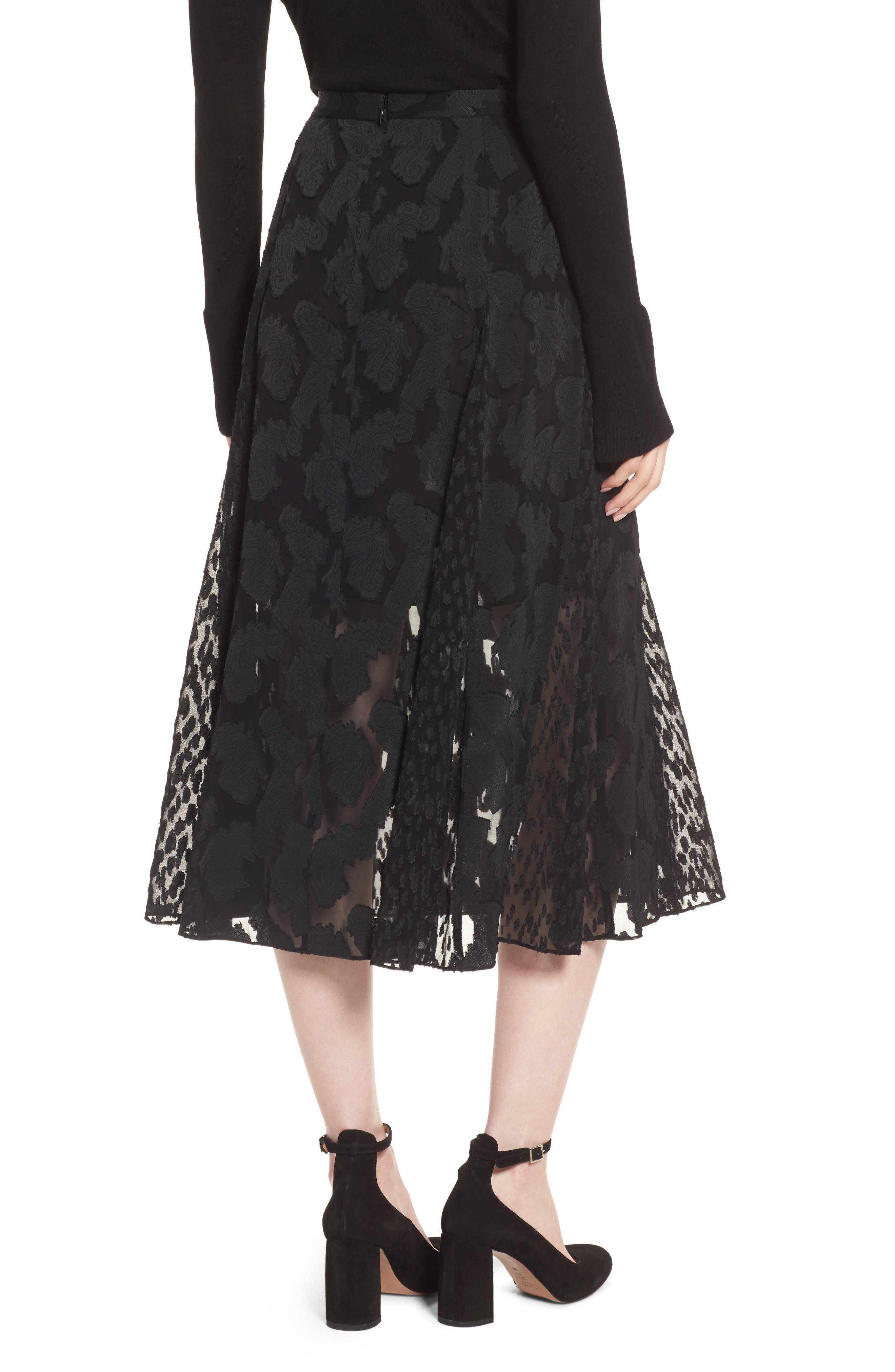 Clip Jacquard Godet Skirt,                             Alternate thumbnail 3, color,