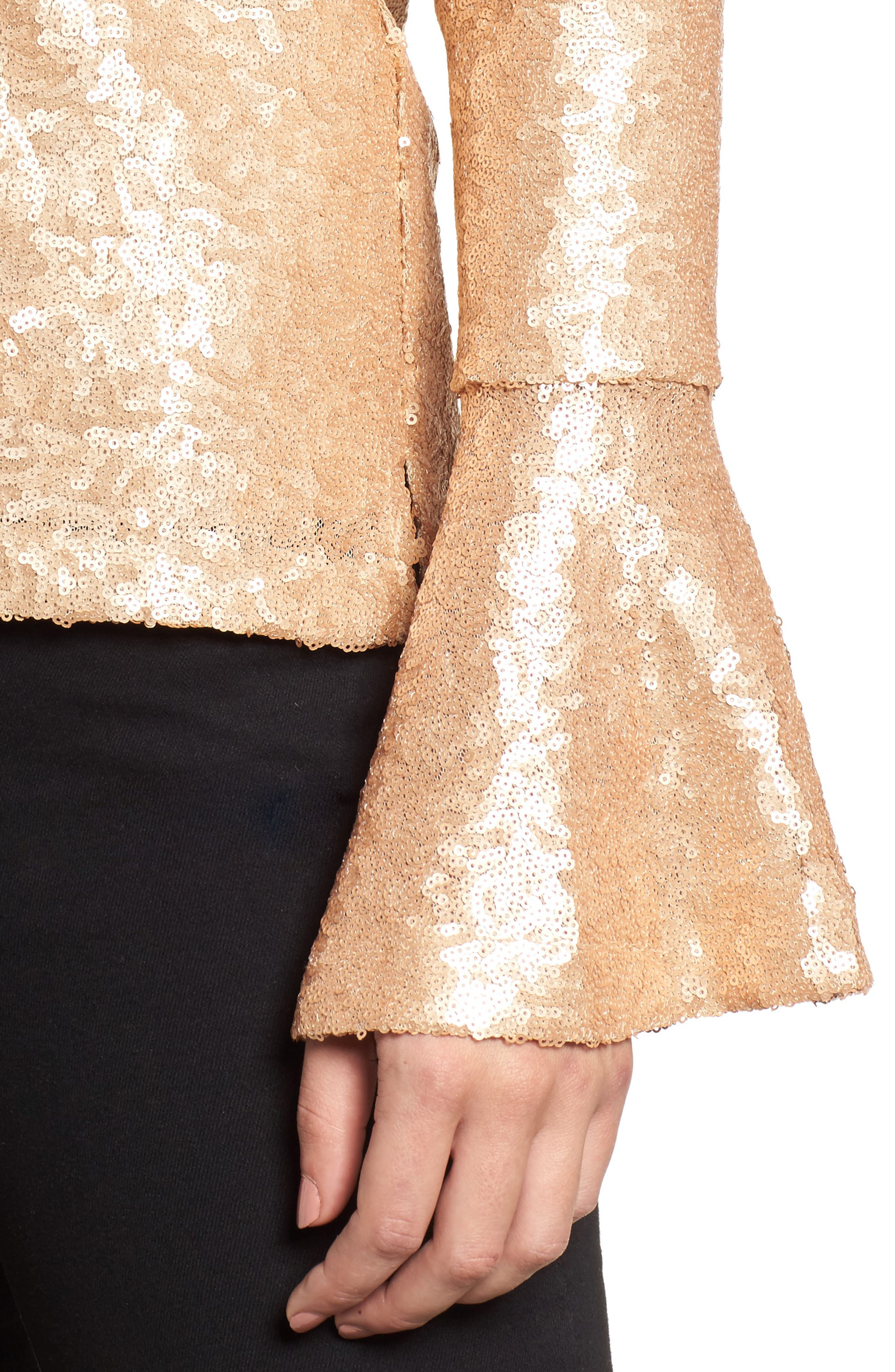 Flare Sleeve Sequin Top,                             Alternate thumbnail 8, color,