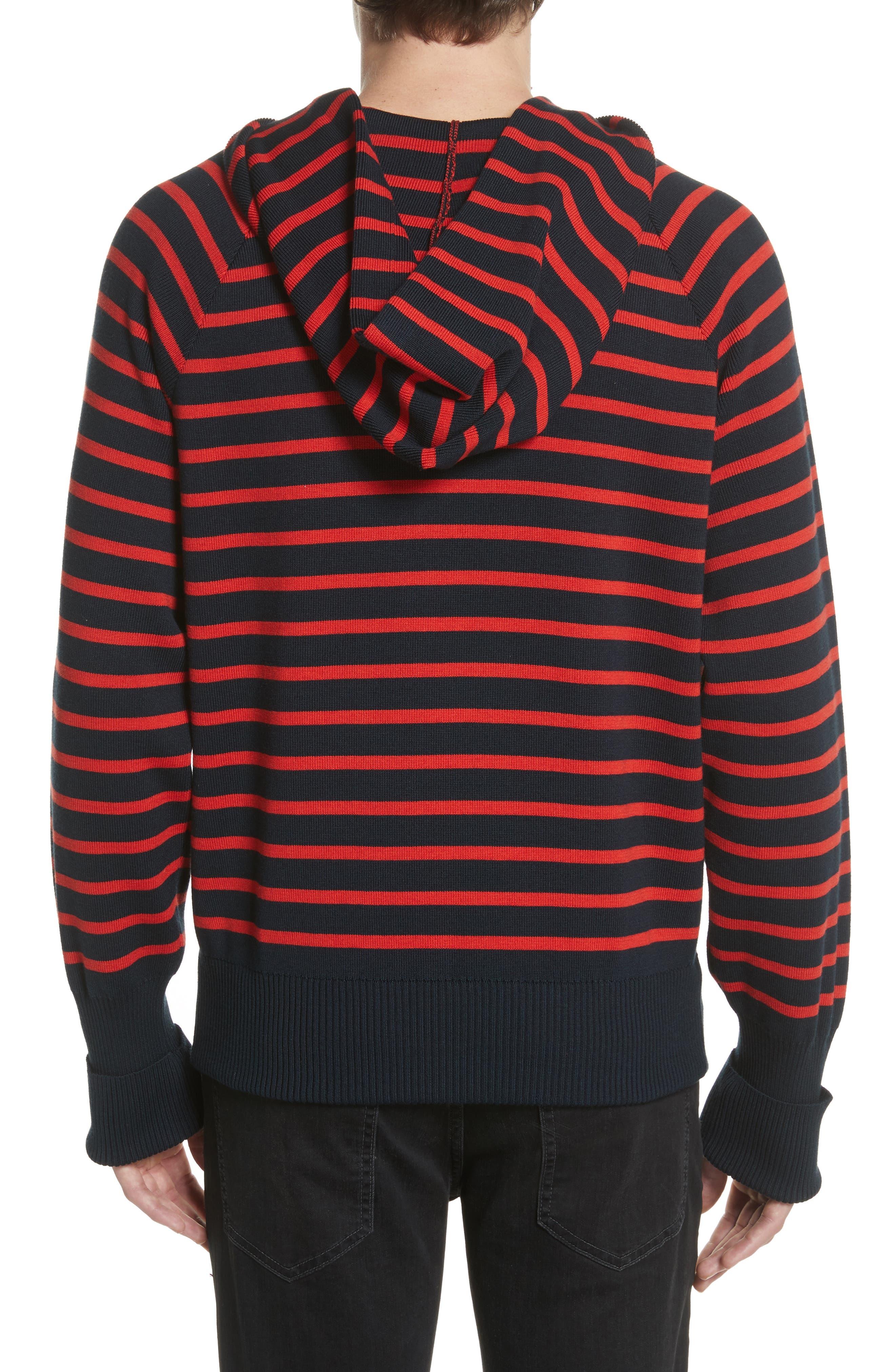 Stripe Wool Blend Hoodie,                             Alternate thumbnail 2, color,
