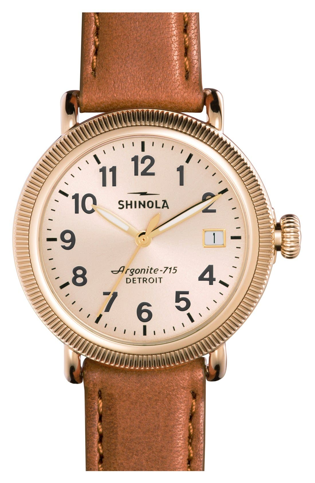 'The Runwell' Leather Strap Watch, 38mm,                         Main,                         color, BOURBON/ GOLD