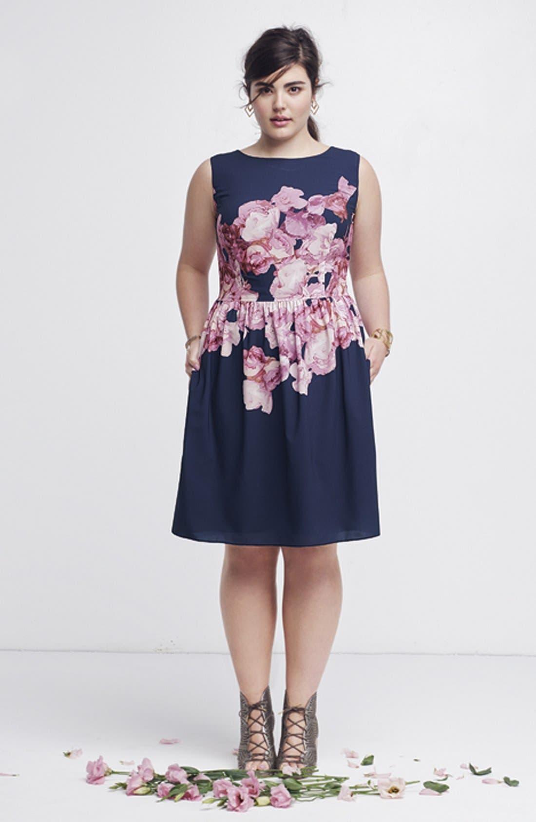 Floral Print Chiffon Fit & Flare Dress,                             Alternate thumbnail 5, color,                             463