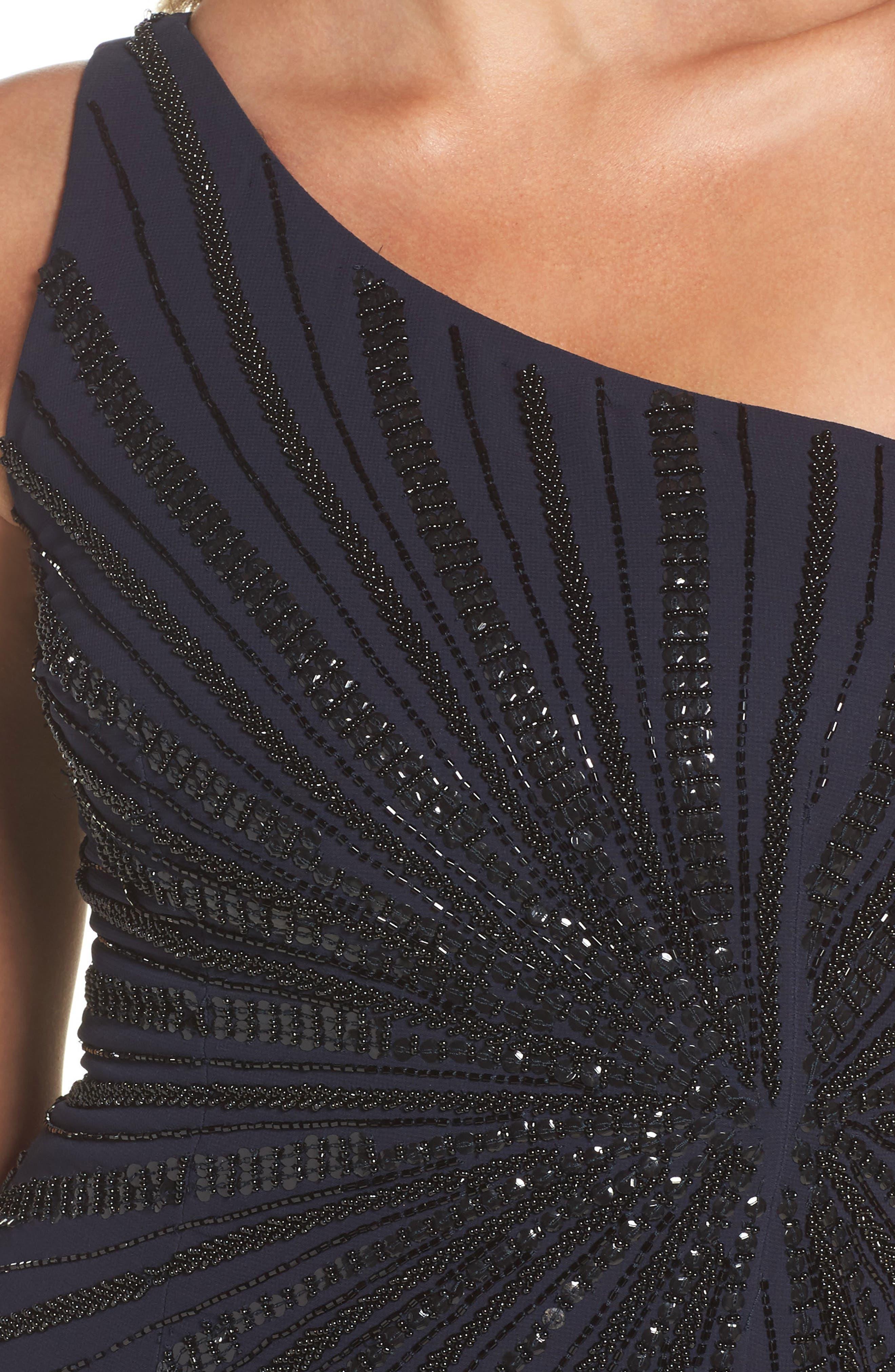 Embellished One-Shoulder Column Gown,                             Alternate thumbnail 4, color,                             412