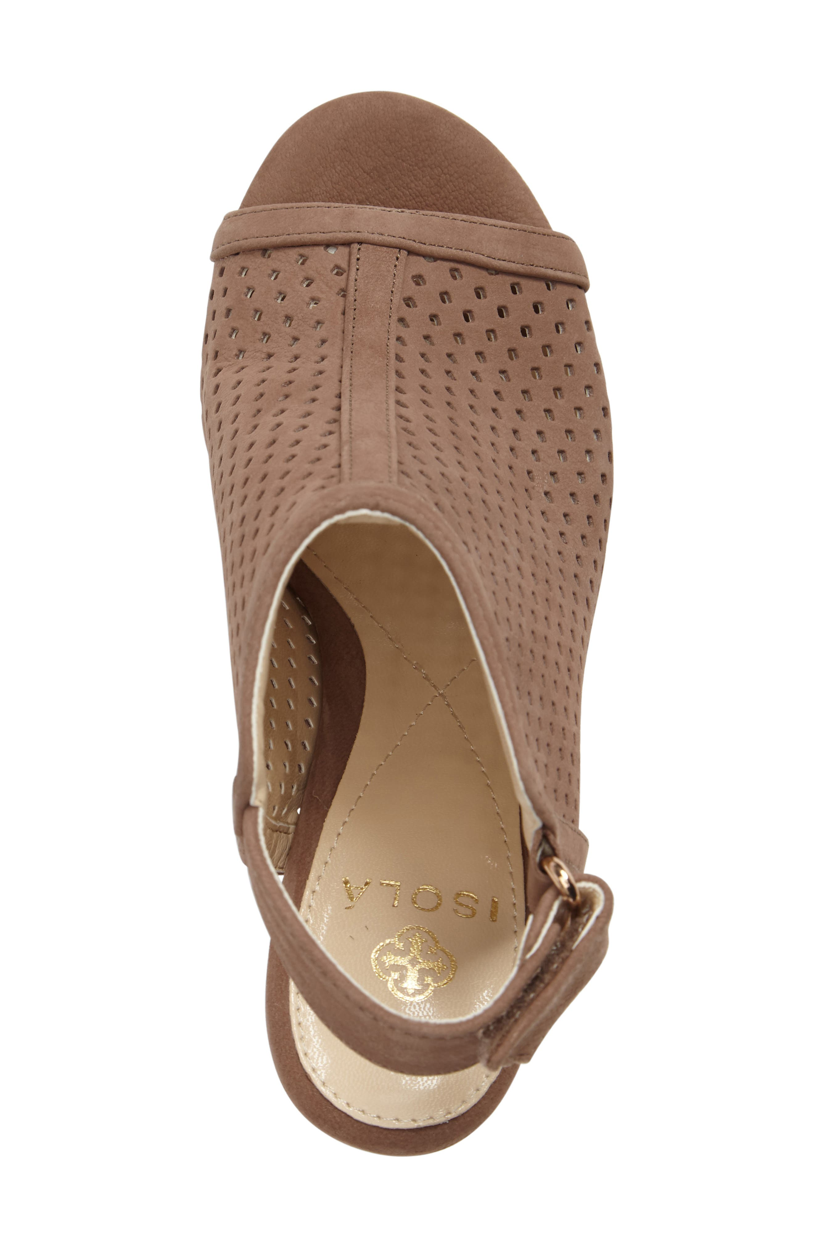 'Lora' Perforated Open-Toe Bootie Sandal,                             Alternate thumbnail 5, color,                             BARLEY LEATHER