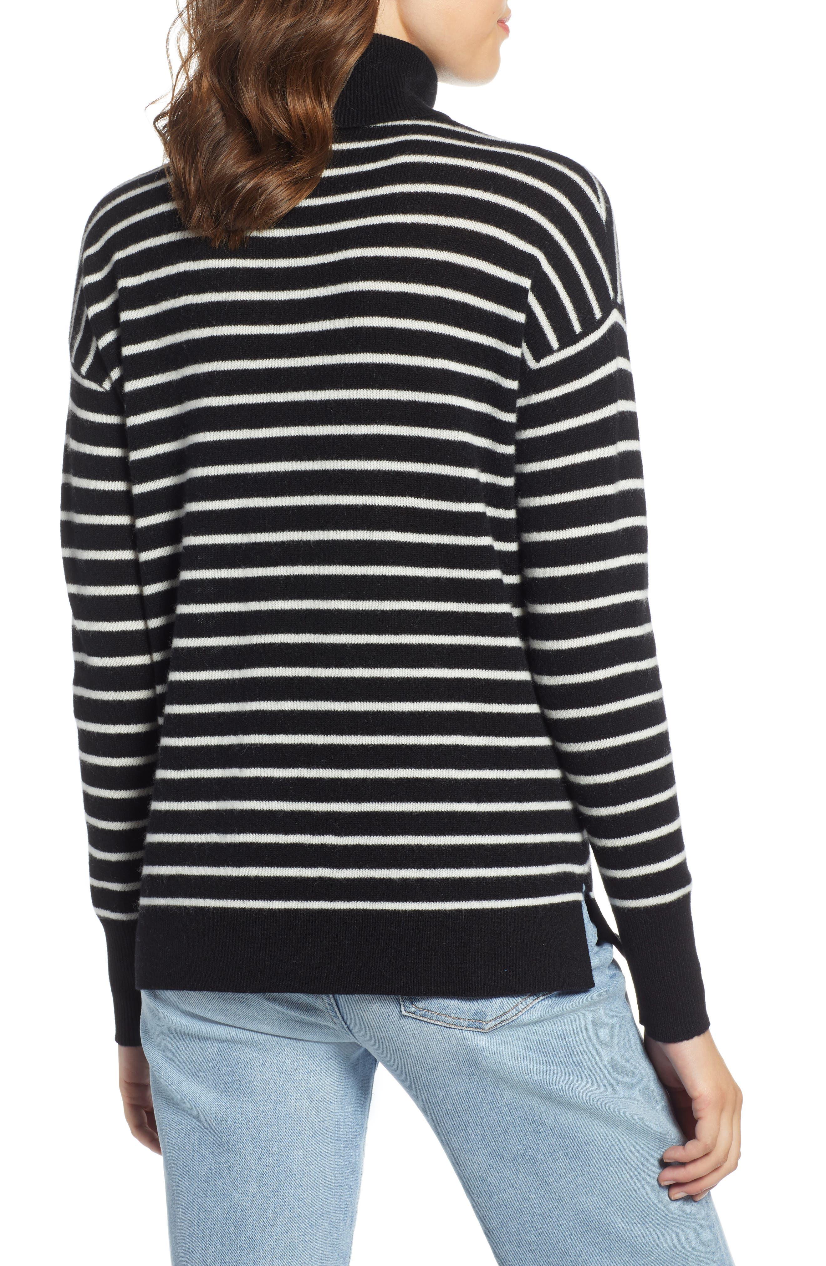 Cashmere Turtleneck Sweater,                             Alternate thumbnail 2, color,                             BLACK- IVORY STRIPE