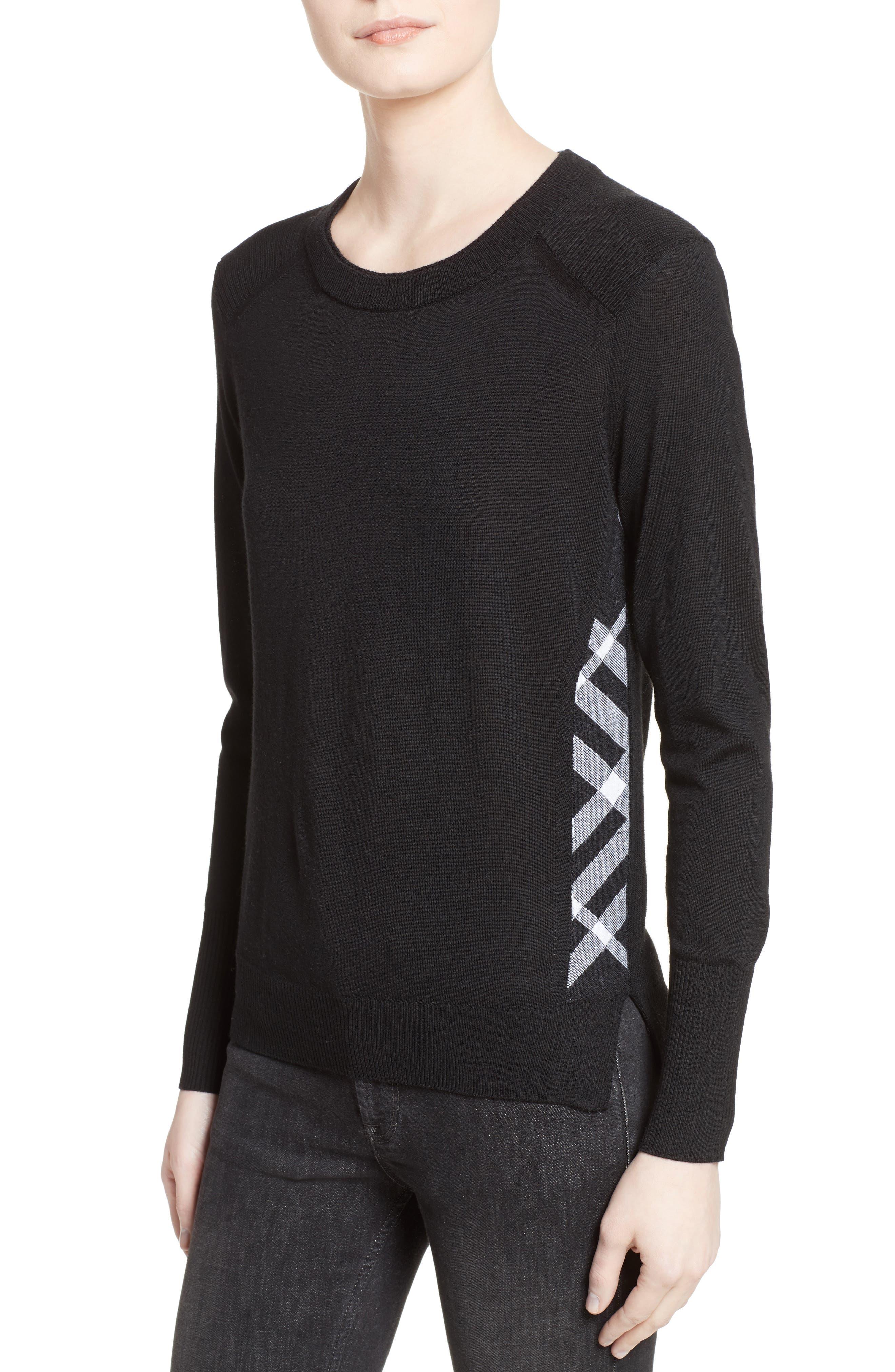 Meigan Merino Wool Sweater,                             Alternate thumbnail 4, color,                             001