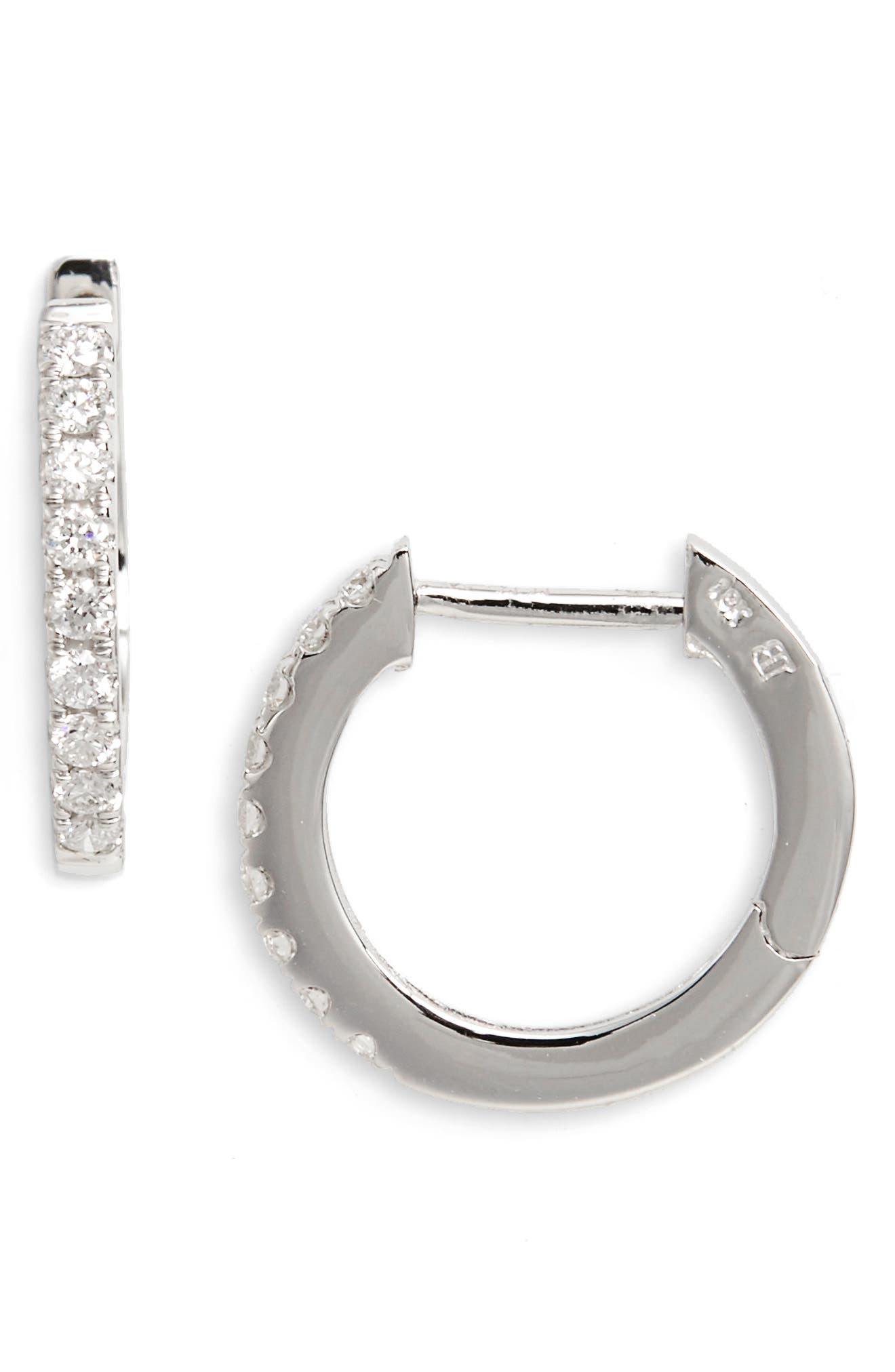 Diamond Hoop Earrings,                             Main thumbnail 1, color,                             WHITE GOLD