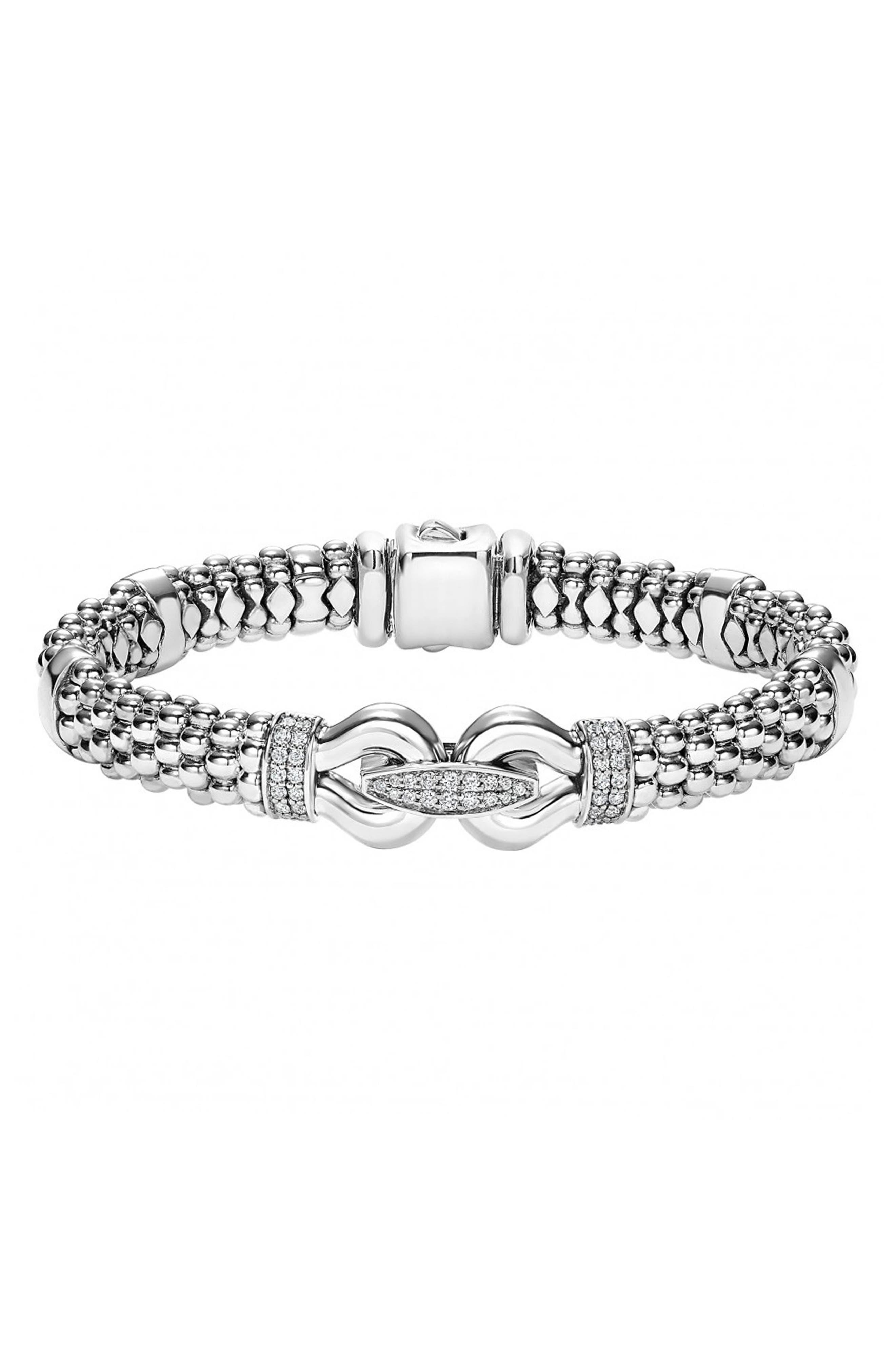 'Derby' Caviar<sup>™</sup> Diamond Rope Bracelet,                             Alternate thumbnail 2, color,                             SILVER